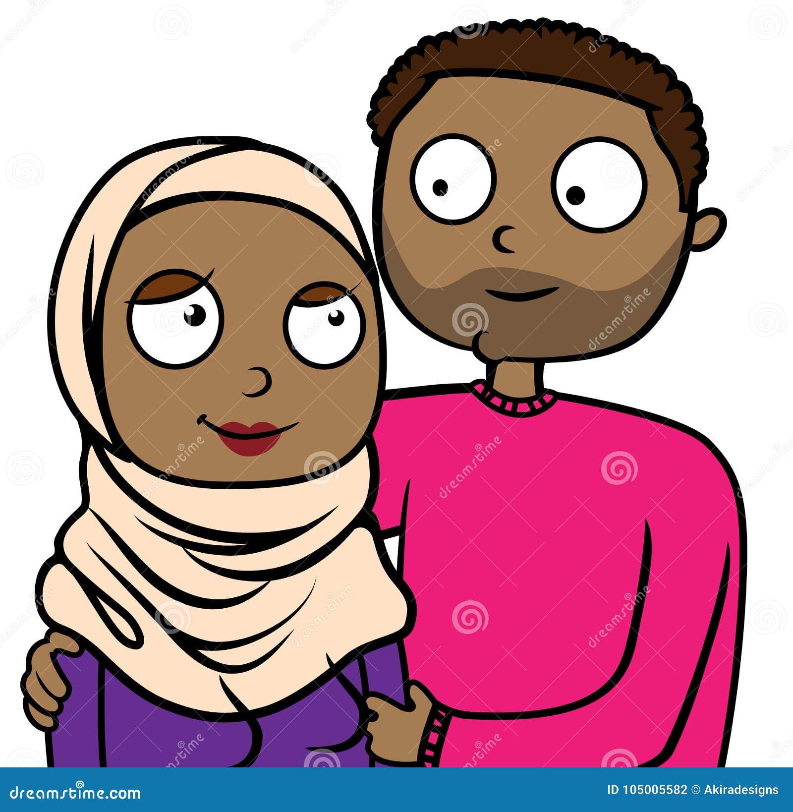 Ilustracao Dos Desenhos Animados De Pares Imigrantes Muculmanos