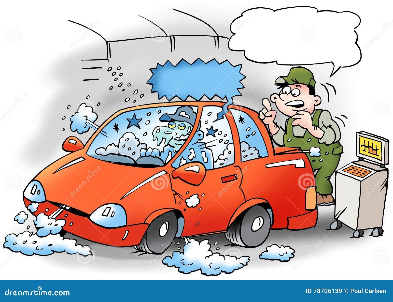 Ilustração dos desenhos animados de um mecânico que teste o condicionador de ar no carro