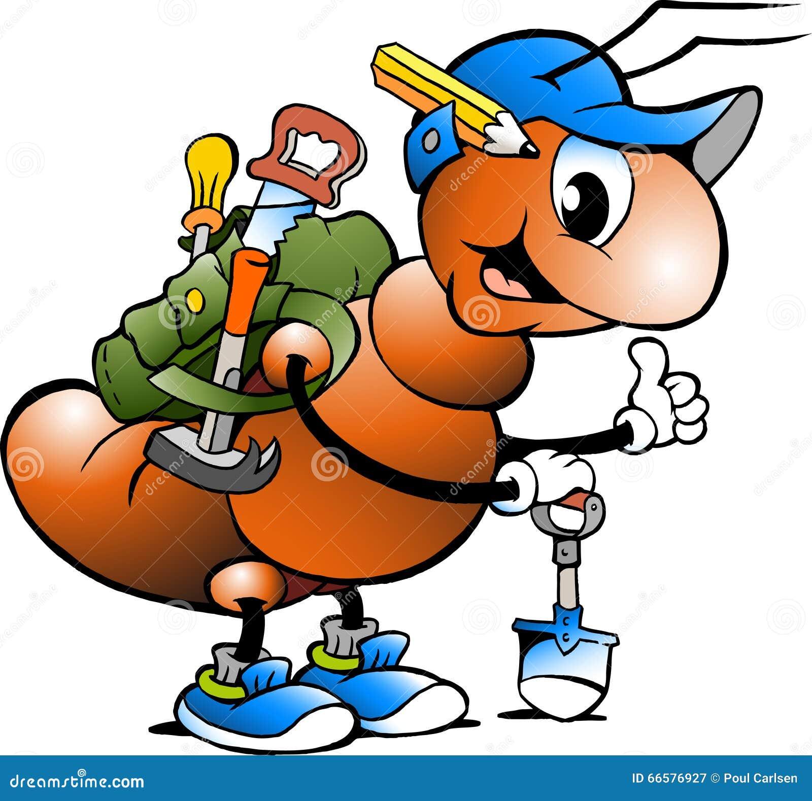 Ilustração dos desenhos animados de uma formiga de trabalho feliz