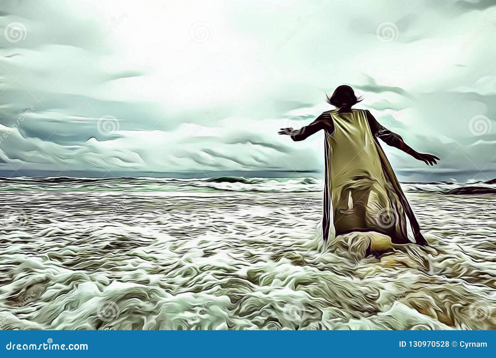 Ilustração dos desenhos animados de uma mulher que anda apenas no mar na frente de um céu nebuloso dramático com luz divina, fuzi