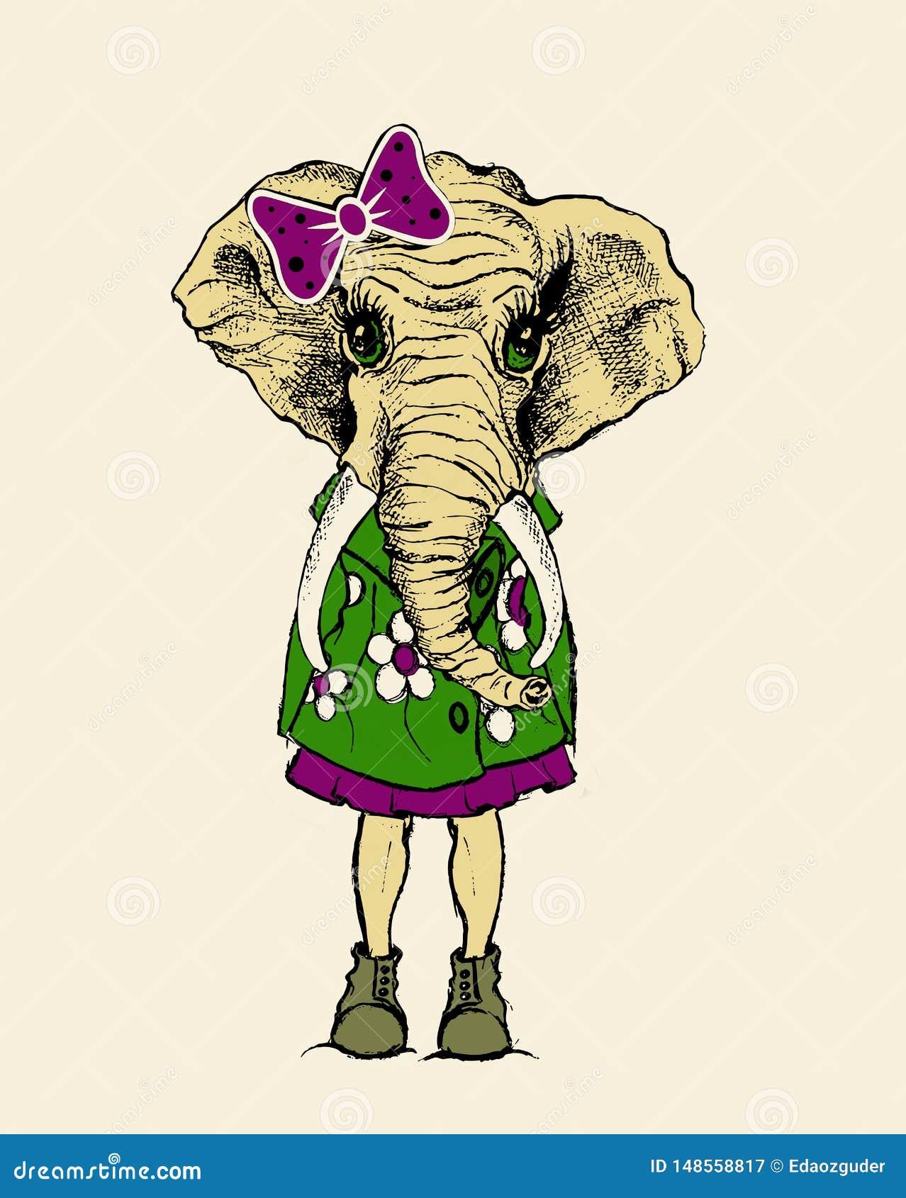 Ilustração dos desenhos animados do elefante, gráfico do t-shirt