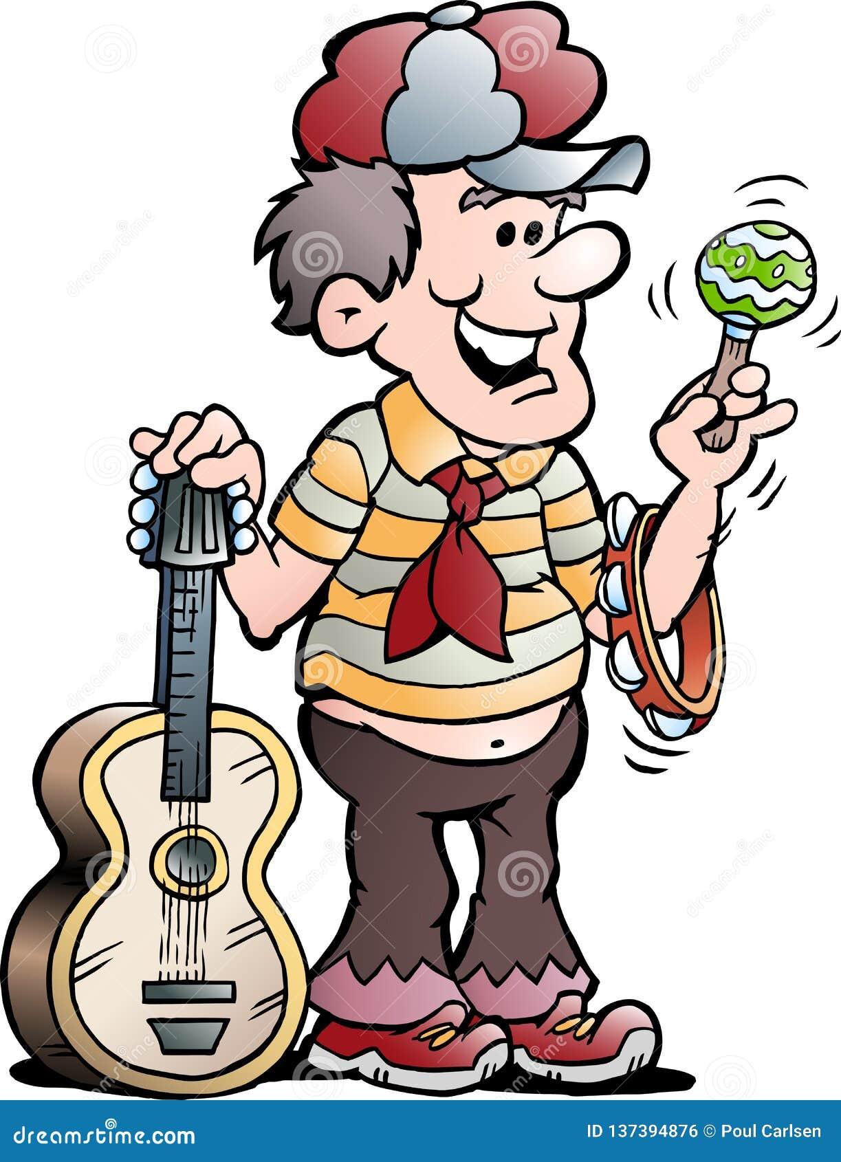 Ilustração dos desenhos animados do vetor de um jogador de música feliz da guitarra