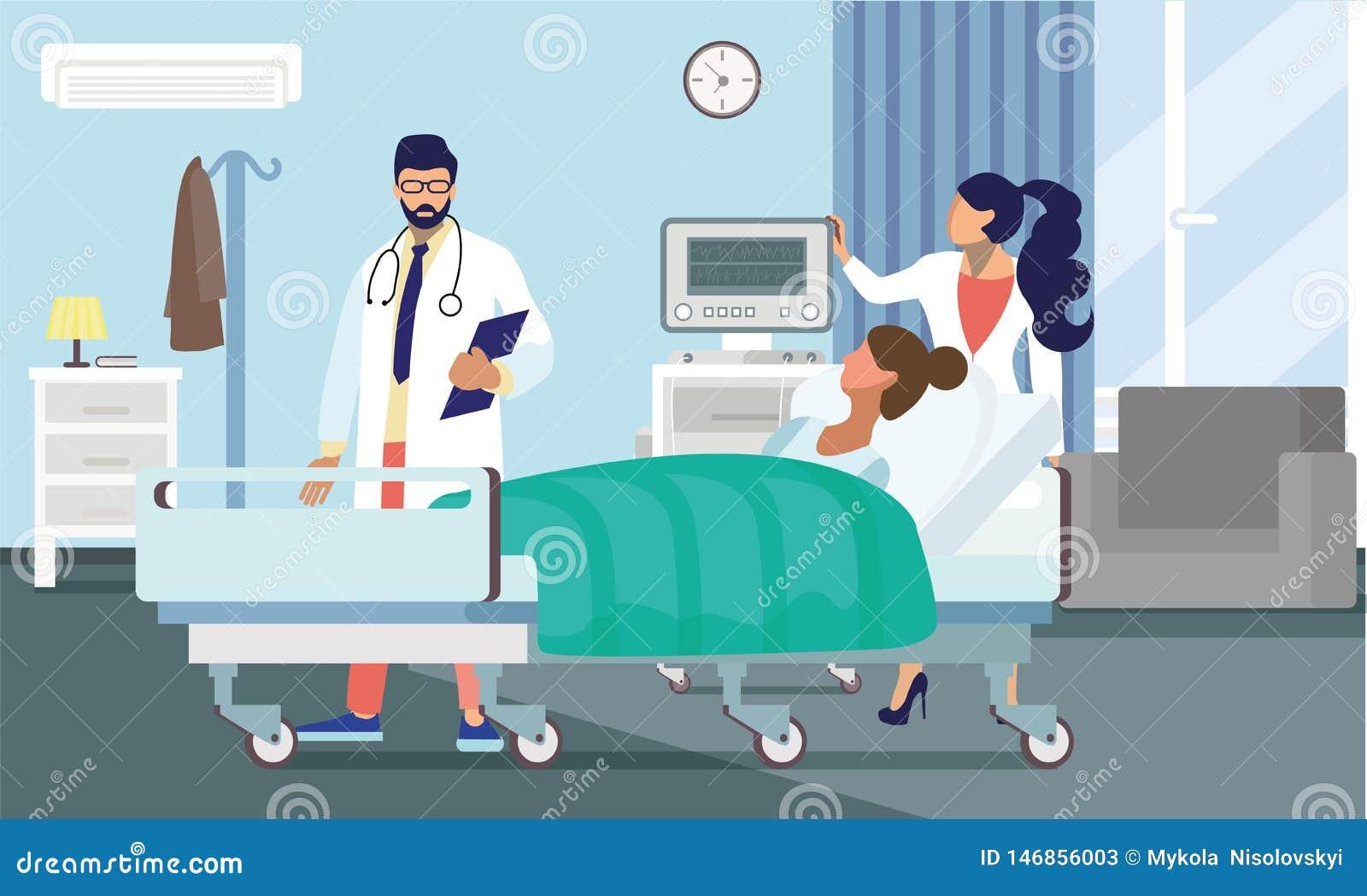 Ilustração dos doutores Treating Paciente Liso Vetor
