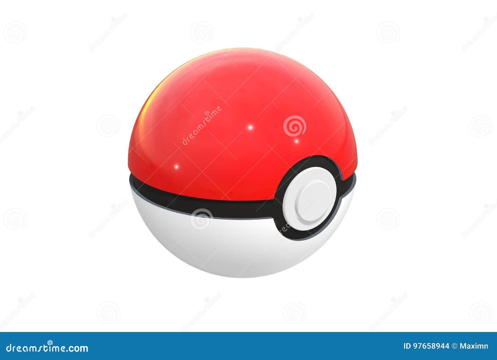 Ilustração editorial: 3d rendem do pokeball isolado em um fundo branco Pokeball é um equipamento a travar em Pokemon vai