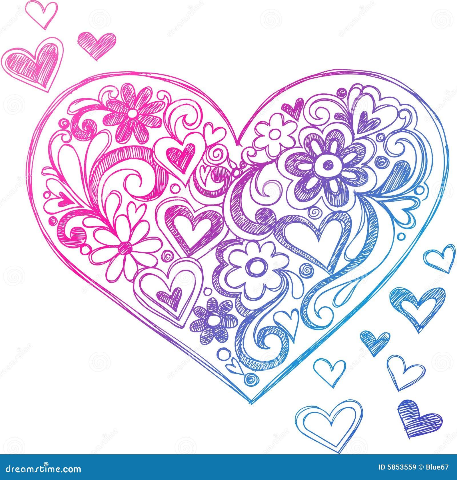 Ilustração esboçado do coração do Doodle