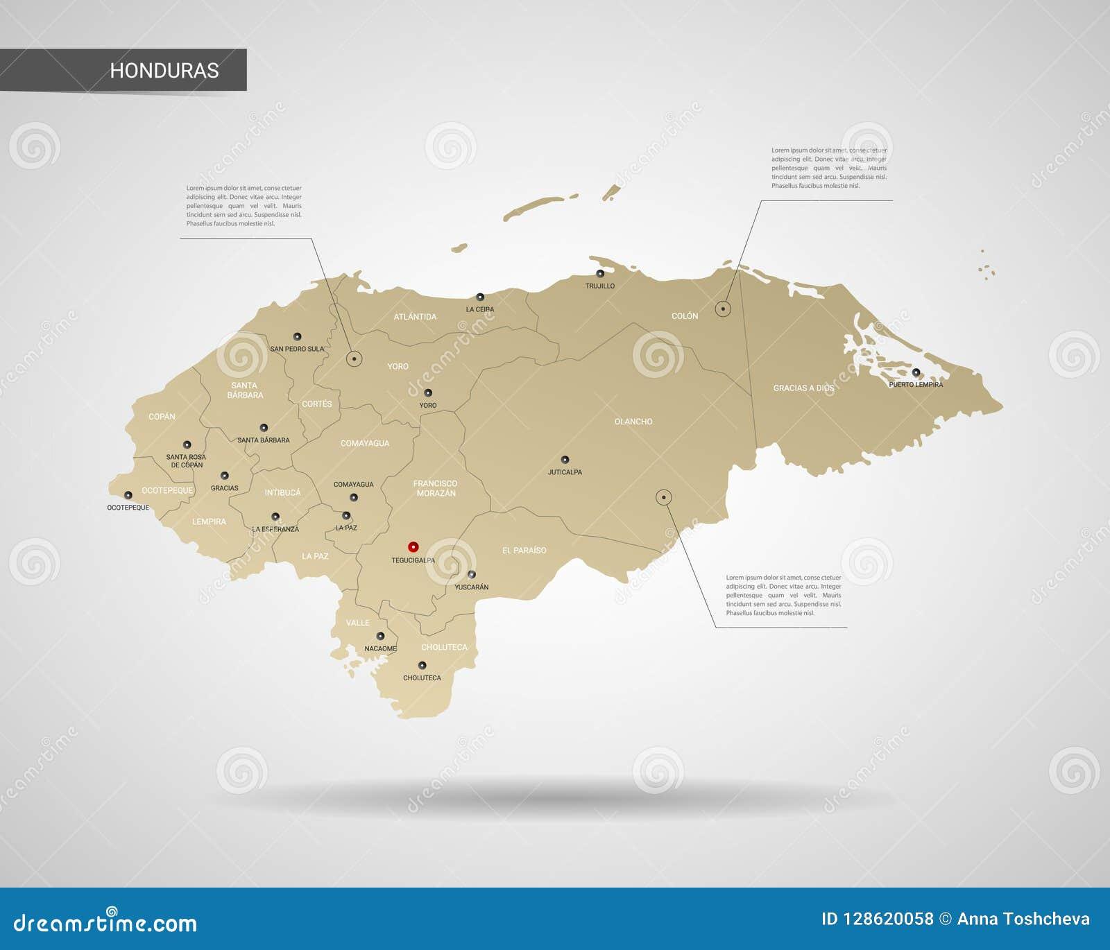 Ilustracao Estilizado Do Vetor Do Mapa Das Honduras Ilustracao Do