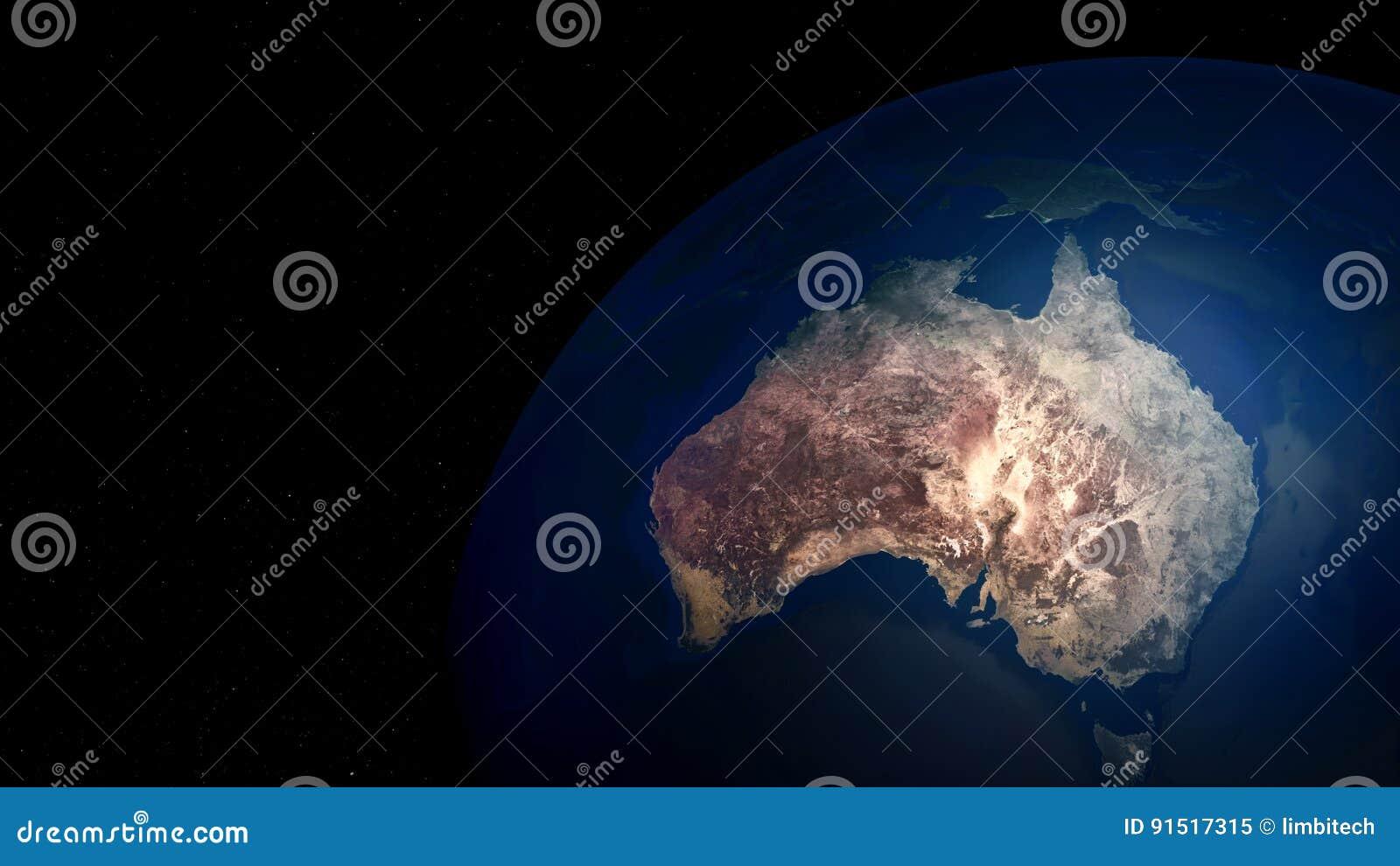 Ilustração extremamente detalhada e realística da alta resolução 3D de Austrália Disparado do espaço