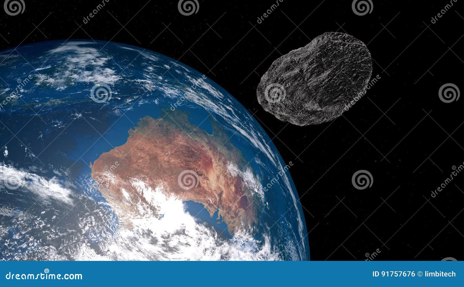 Ilustração extremamente detalhada e realística da alta resolução 3D de uma Austrália de aproximação asteroide Disparado do espaço