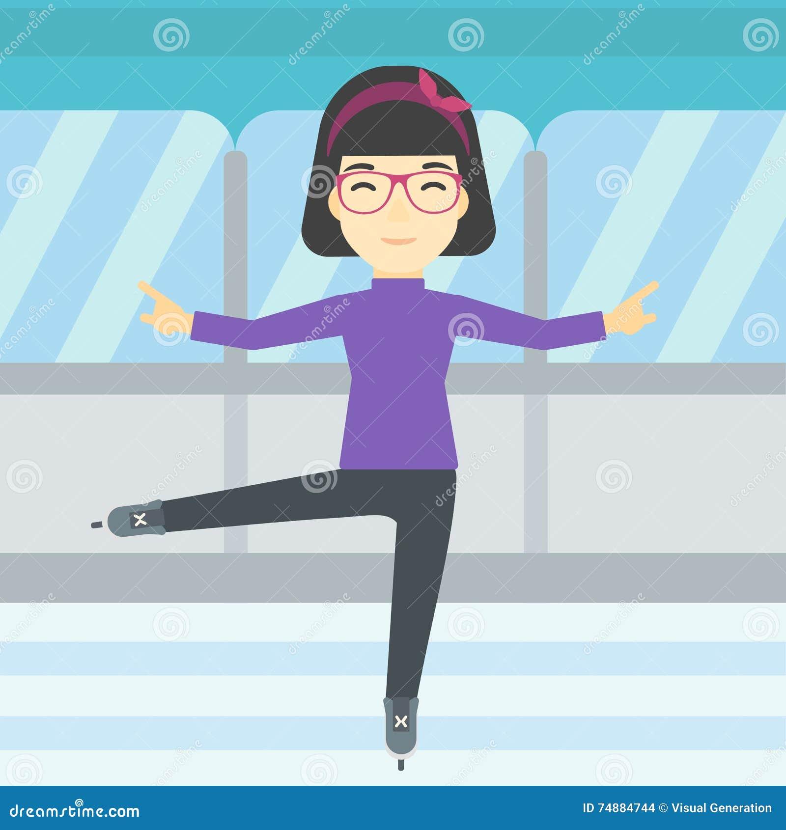 Ilustração fêmea do vetor do patinador artística