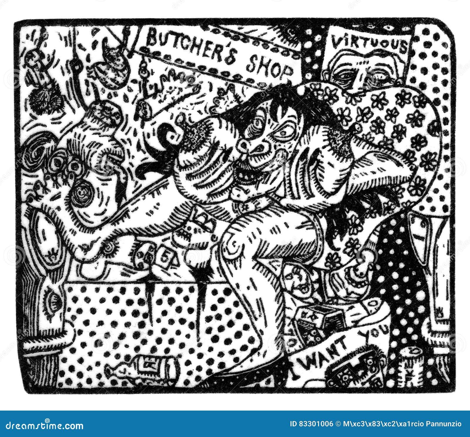 Ilustração feita da gravura de madeira que descreve uma cena da exploração e da injustiça