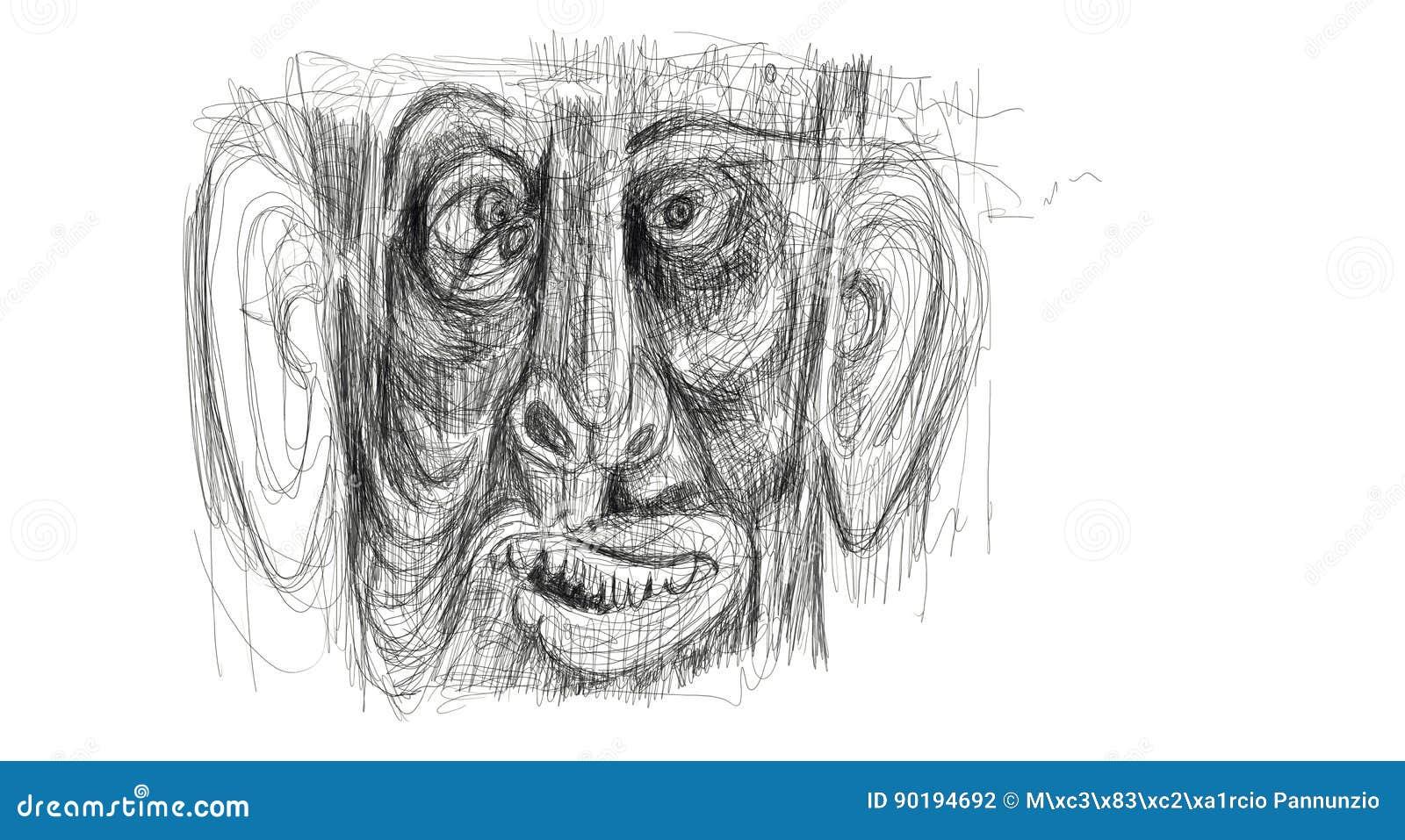 Ilustração feita do desenho digital que mostra o detalhe da cara de um homem afligido, aturdido, surpreendido Minimalista e delic