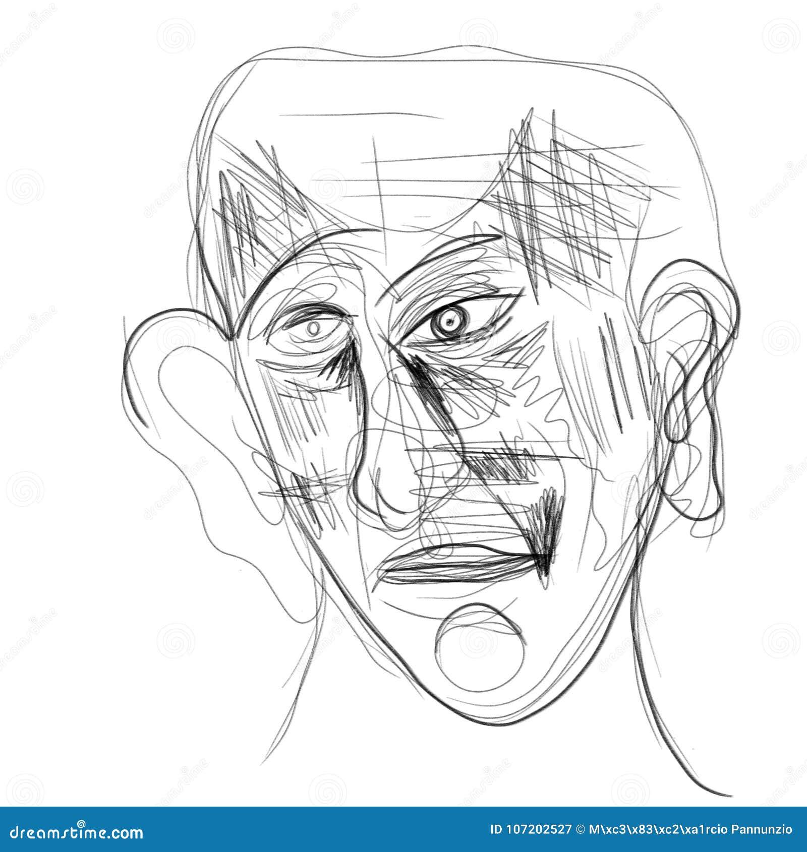 Ilustração Feita Na Tabuleta Que Descreve Um Rosto Humano