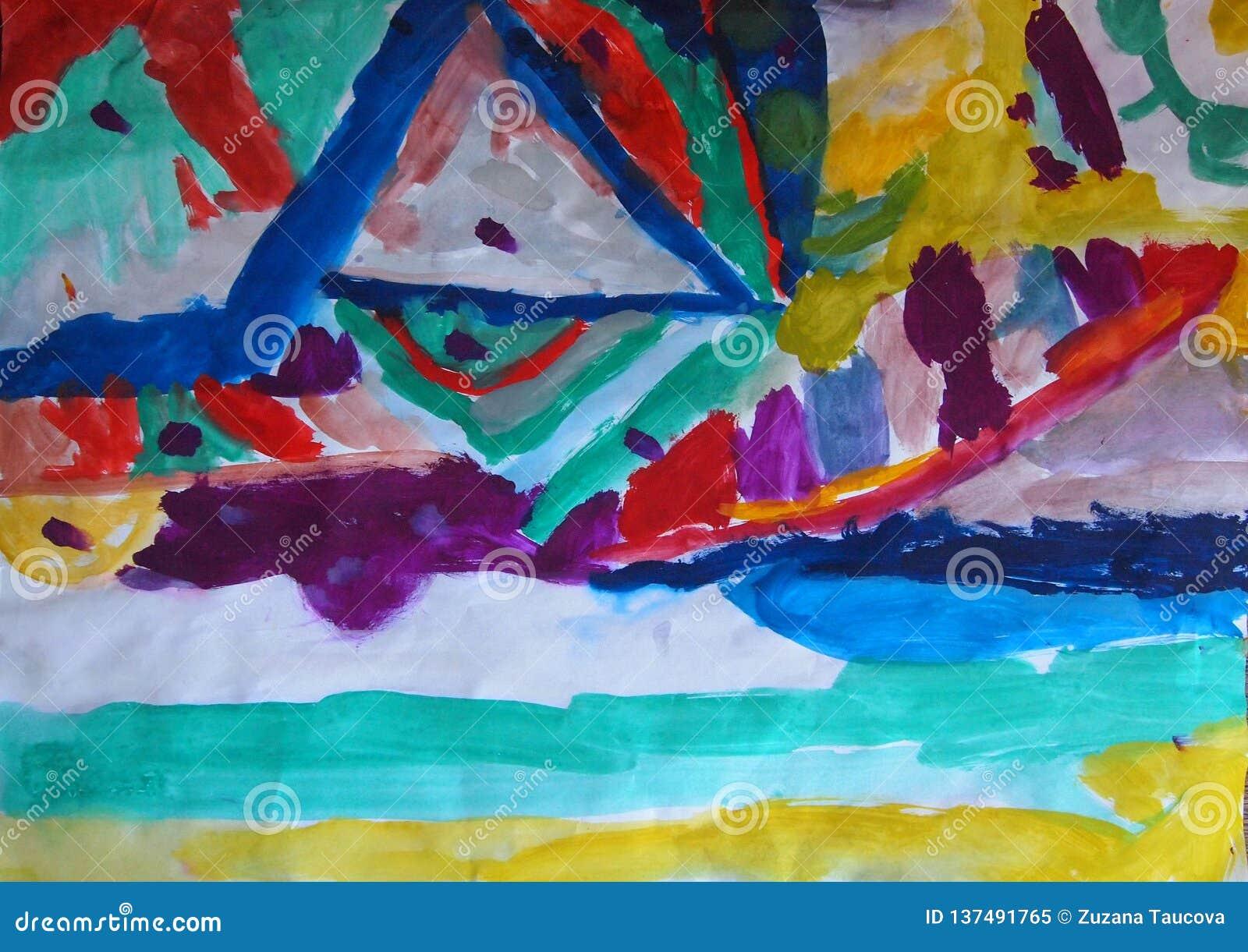 Ilustração feito a mão abstrata da aquarela do fundo colorido com linhas claras borradas Linhas curvadas, triângulos, pontos