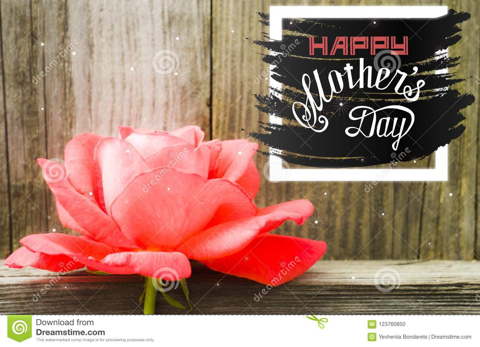 Ilustração feliz do cartão de rotulação da mão do dia de mães