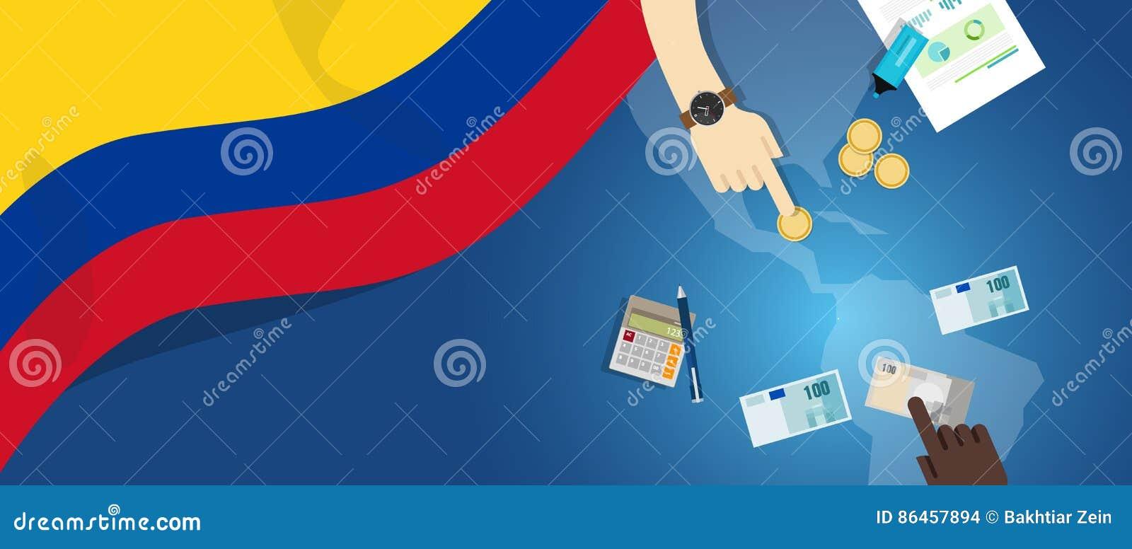 Ilustração fiscal do conceito do comércio do dinheiro da economia de Colômbia do orçamento financeiro da operação bancária com ma
