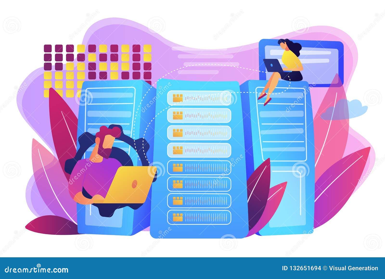 Ilustração grande do vetor do conceito do armazenamento de dados