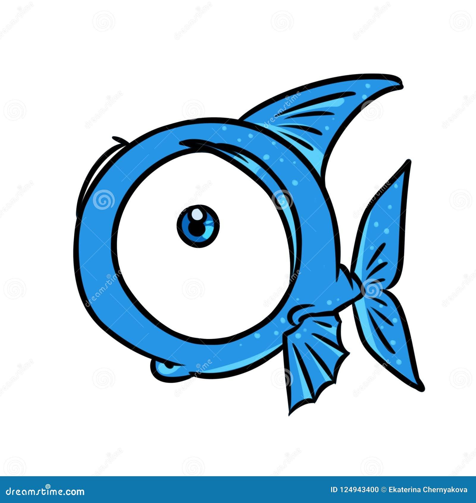 Ilustracao Grande Dos Desenhos Animados Do Olho Dos Peixes Azuis Ilustracao Stock Ilustracao De Grande Animados 124943400