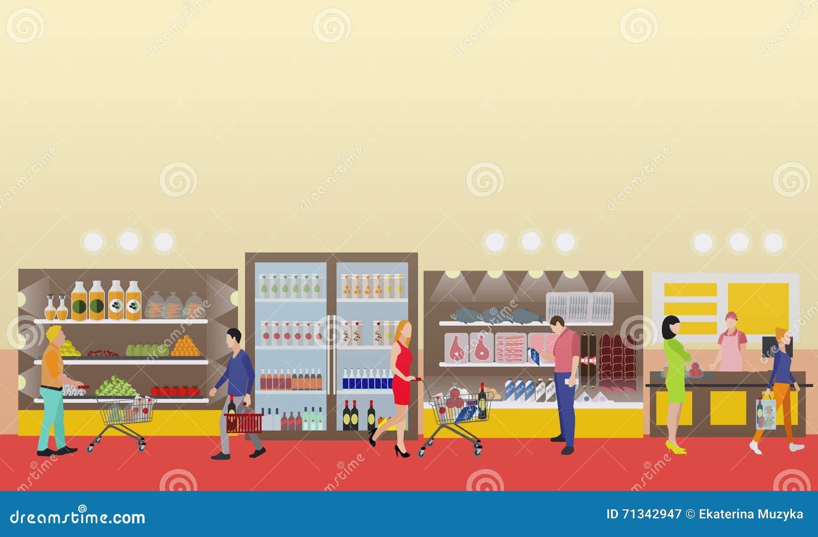 2dd825cd59866 Ilustração interior do vetor do supermercado no estilo liso Produtos da  compra dos clientes na despensa
