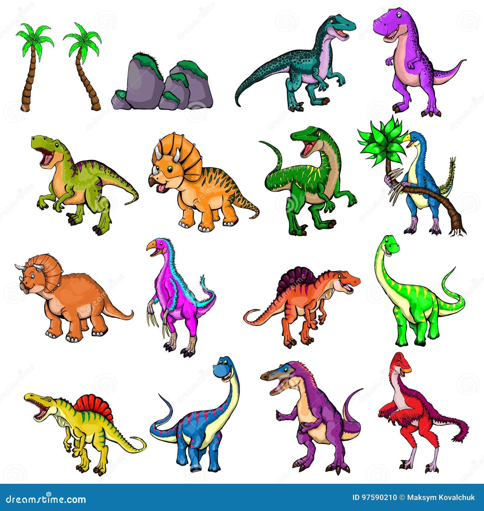 Ilustração isolada de um grupo de dinossauros
