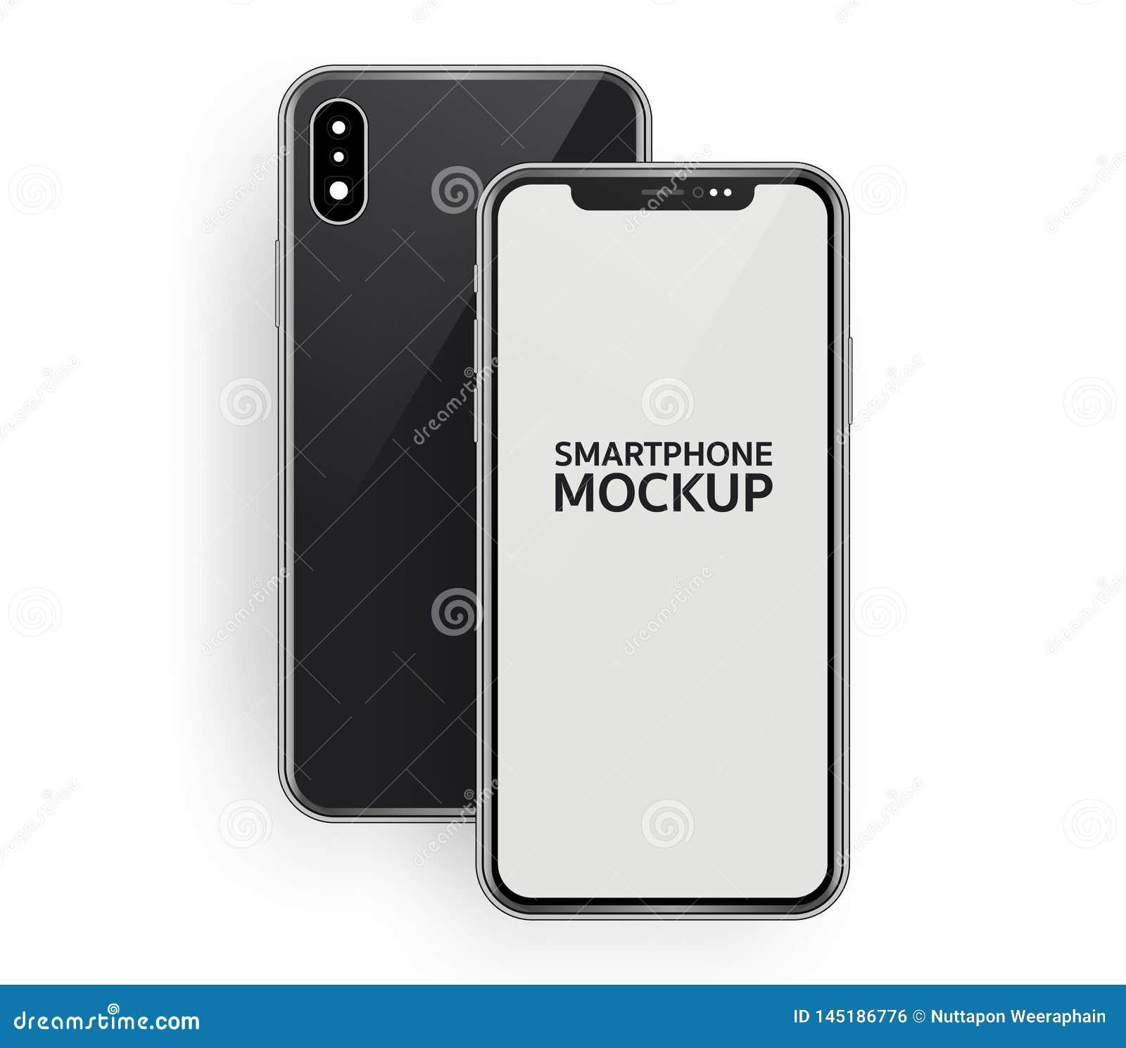 Ilustra??o isom?trica de Minimalistic da parte dianteira do smartphone e da opini?o superior da composi??o traseira, dispositivo