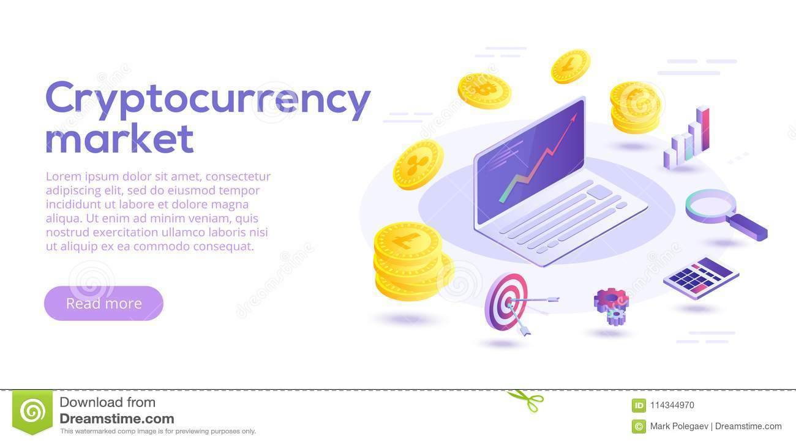 Ilustração isométrica do conceito do vetor de transferência de Cryptocurrency d
