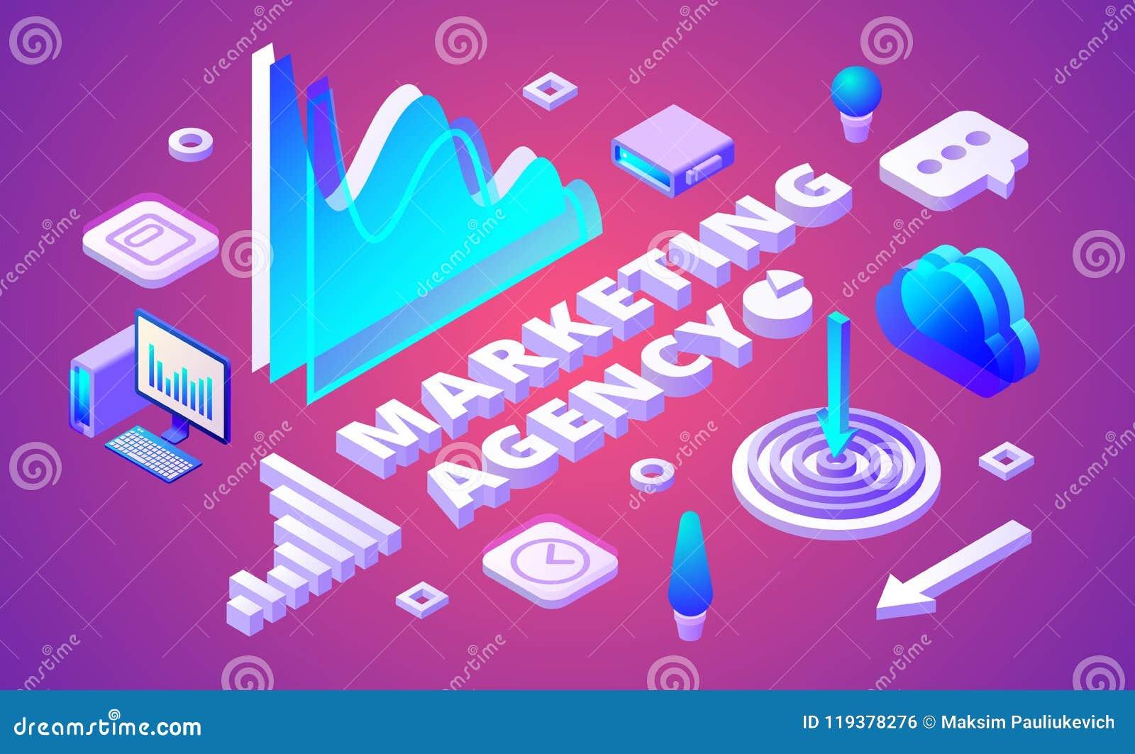 Ilustração isométrica do vetor da agência do mercado