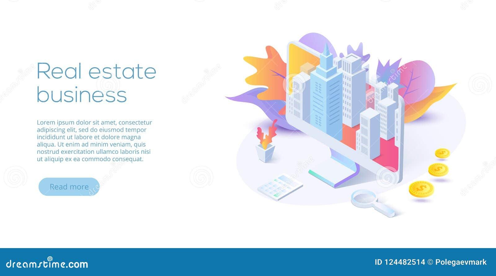 Ilustração isométrica do vetor do negócio dos bens imobiliários Busca de casa