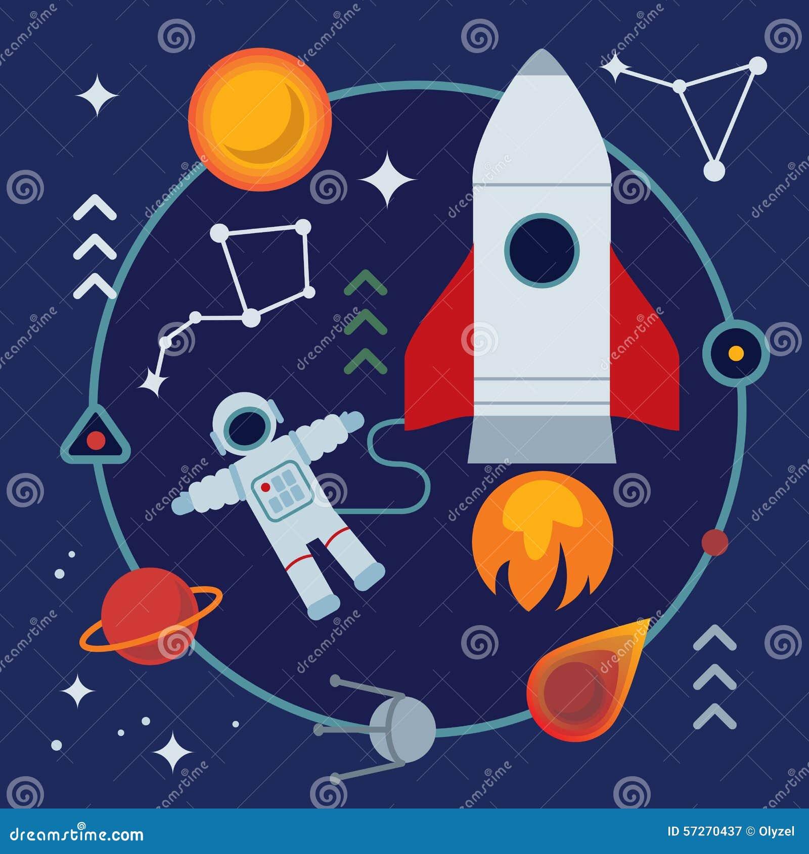 Ilustração Lisa Da Astronomia Com Livro, Foguete