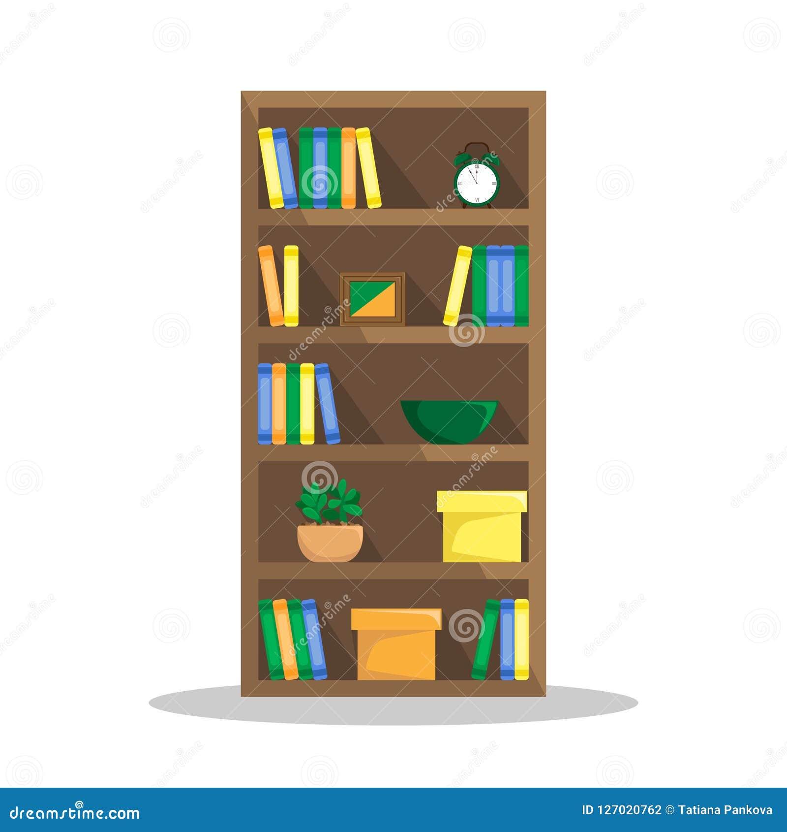 Ilustração lisa de uma biblioteca acolhedor com livros, pulso de disparo