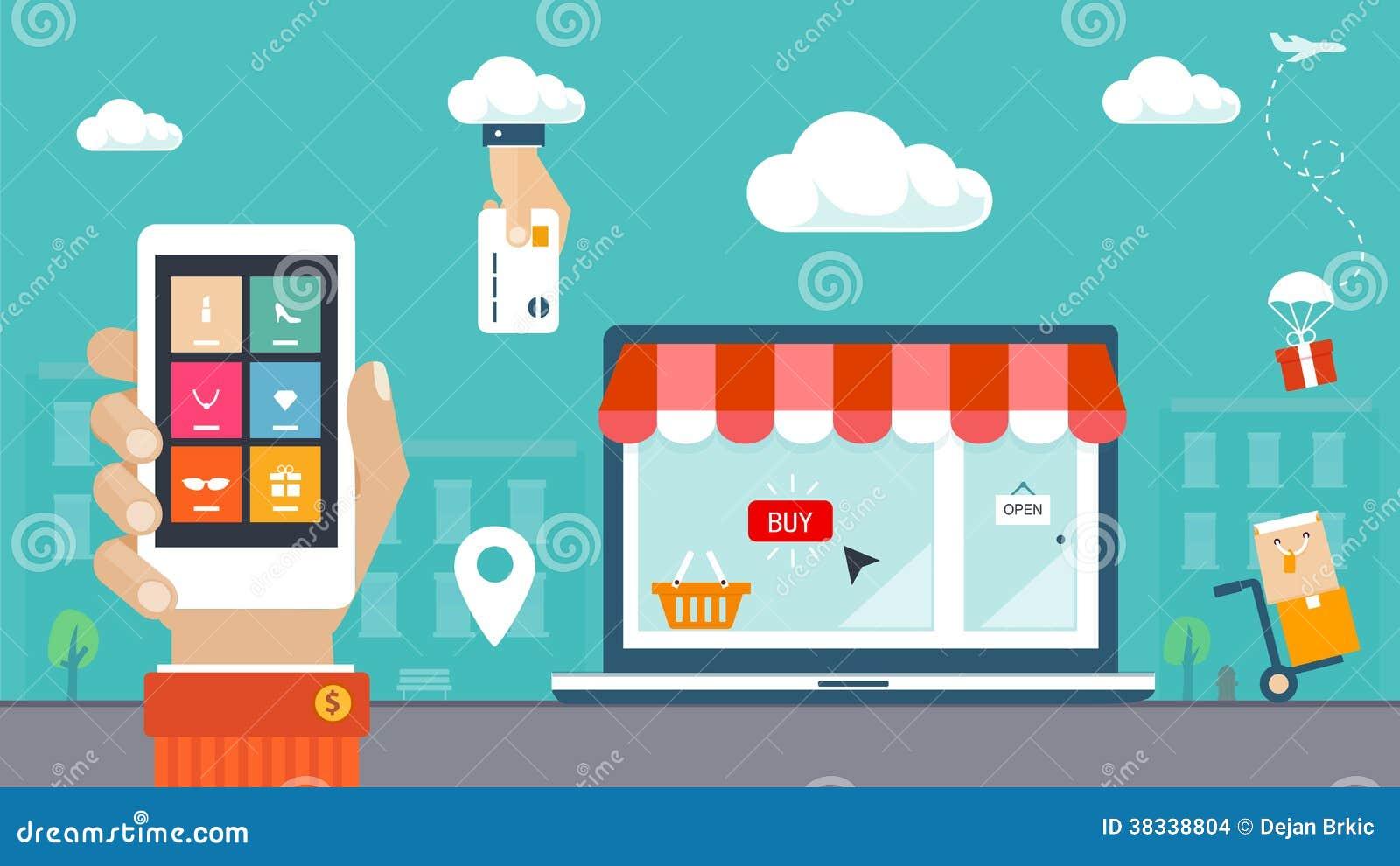 Ilustração lisa do projeto. Comércio eletrônico, compra & entrega
