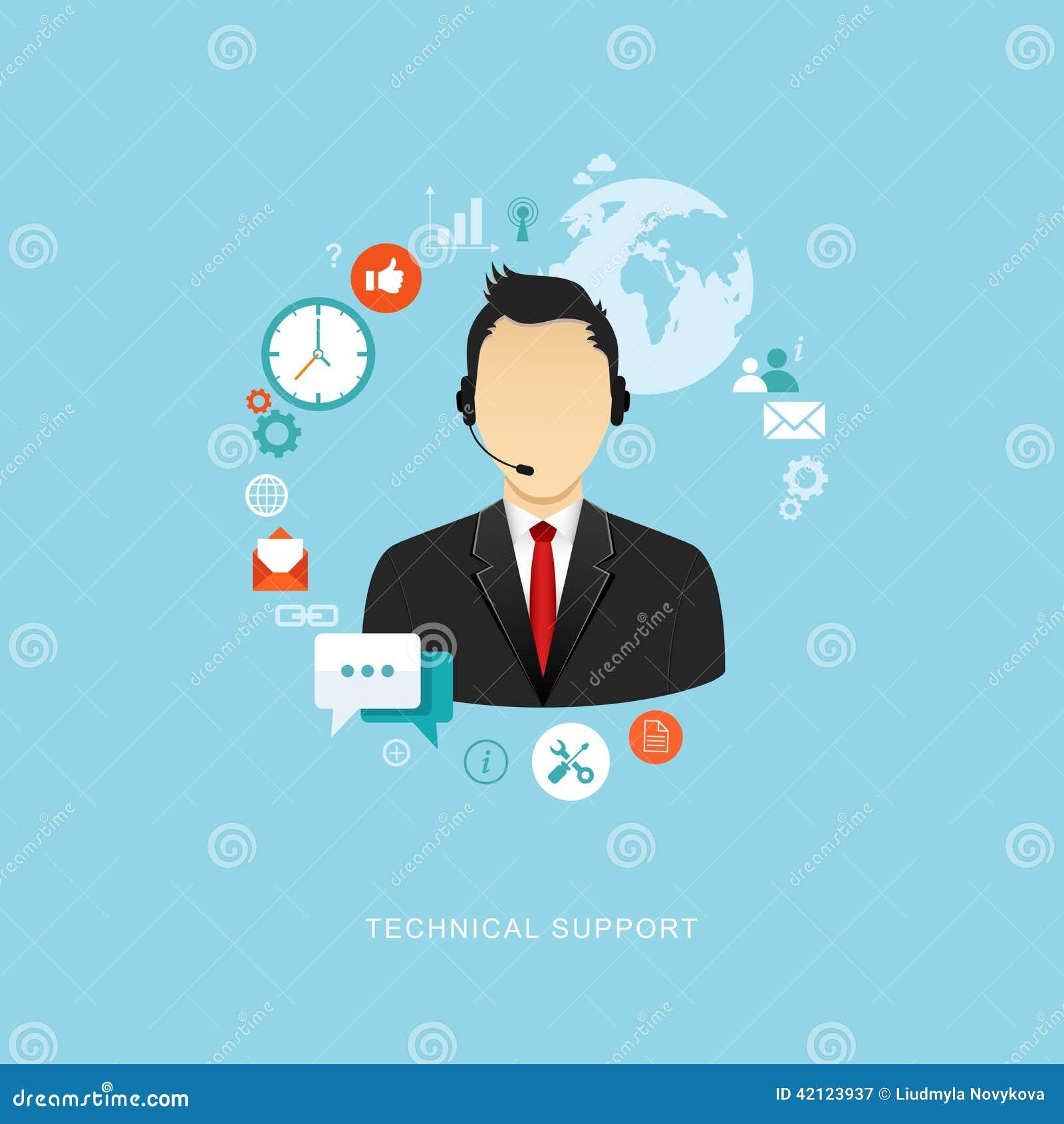 Ilustração lisa do projeto com ícones Assistente do suporte laboral