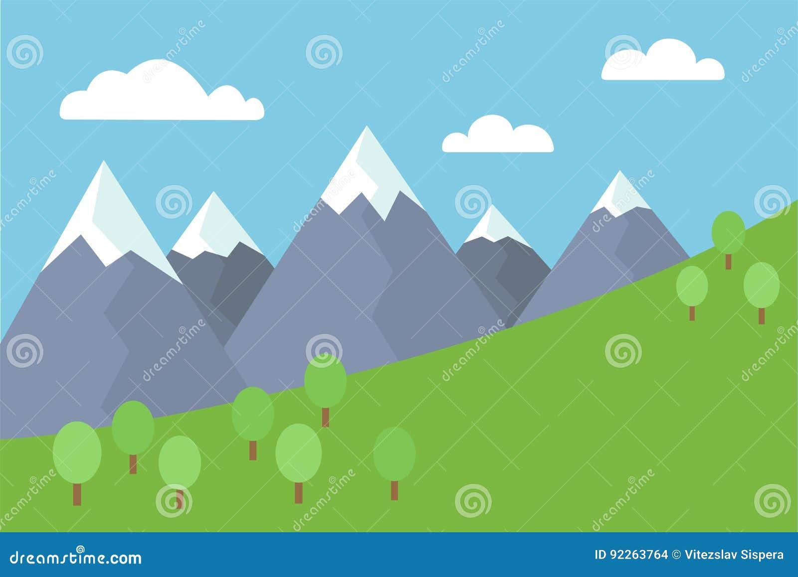 Ilustração lisa do vetor colorido dos desenhos animados da paisagem da montanha com picos cobertos de neve com árvores e prado so