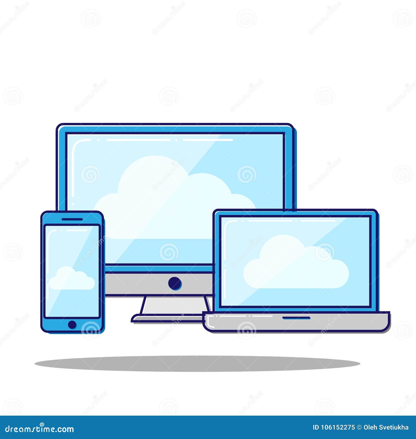 Ilustração lisa do vetor do conceito de computação da nuvem em dispositivos eletrónicos diferentes