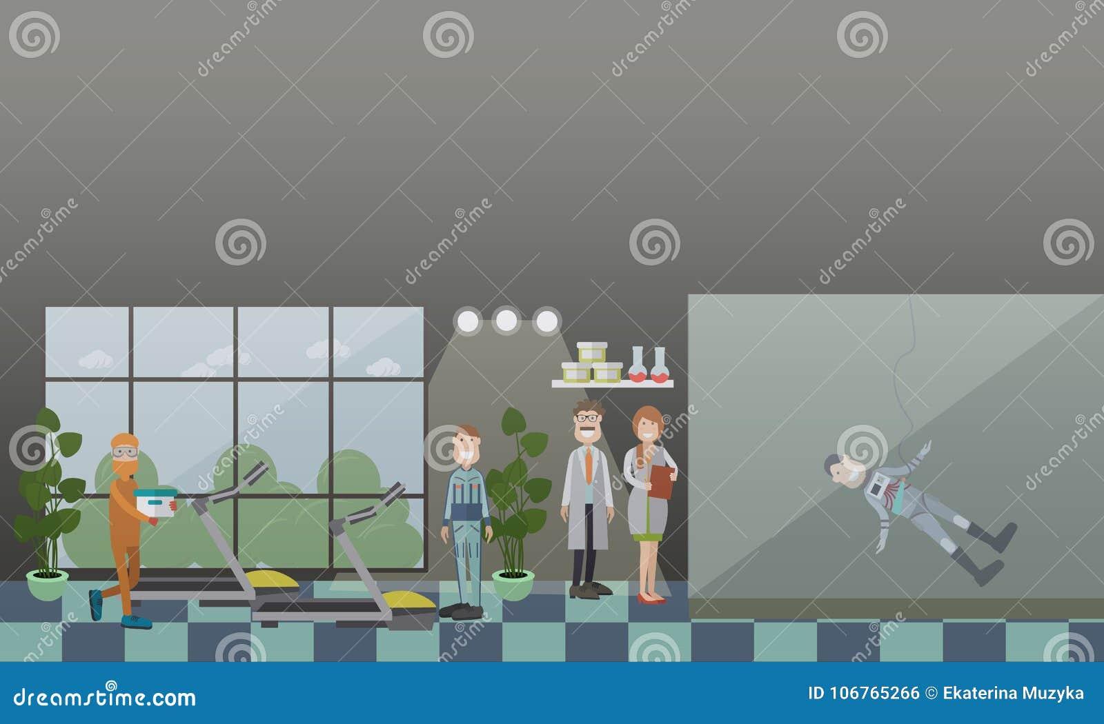 Ilustração lisa do vetor do conceito do treinamento do astronauta