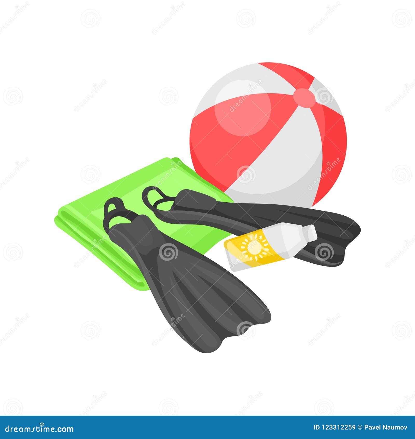 Ilustração lisa do vetor da bola de praia, das aletas, da toalha e da garrafa da proteção solar Encalhe férias Verão ativo