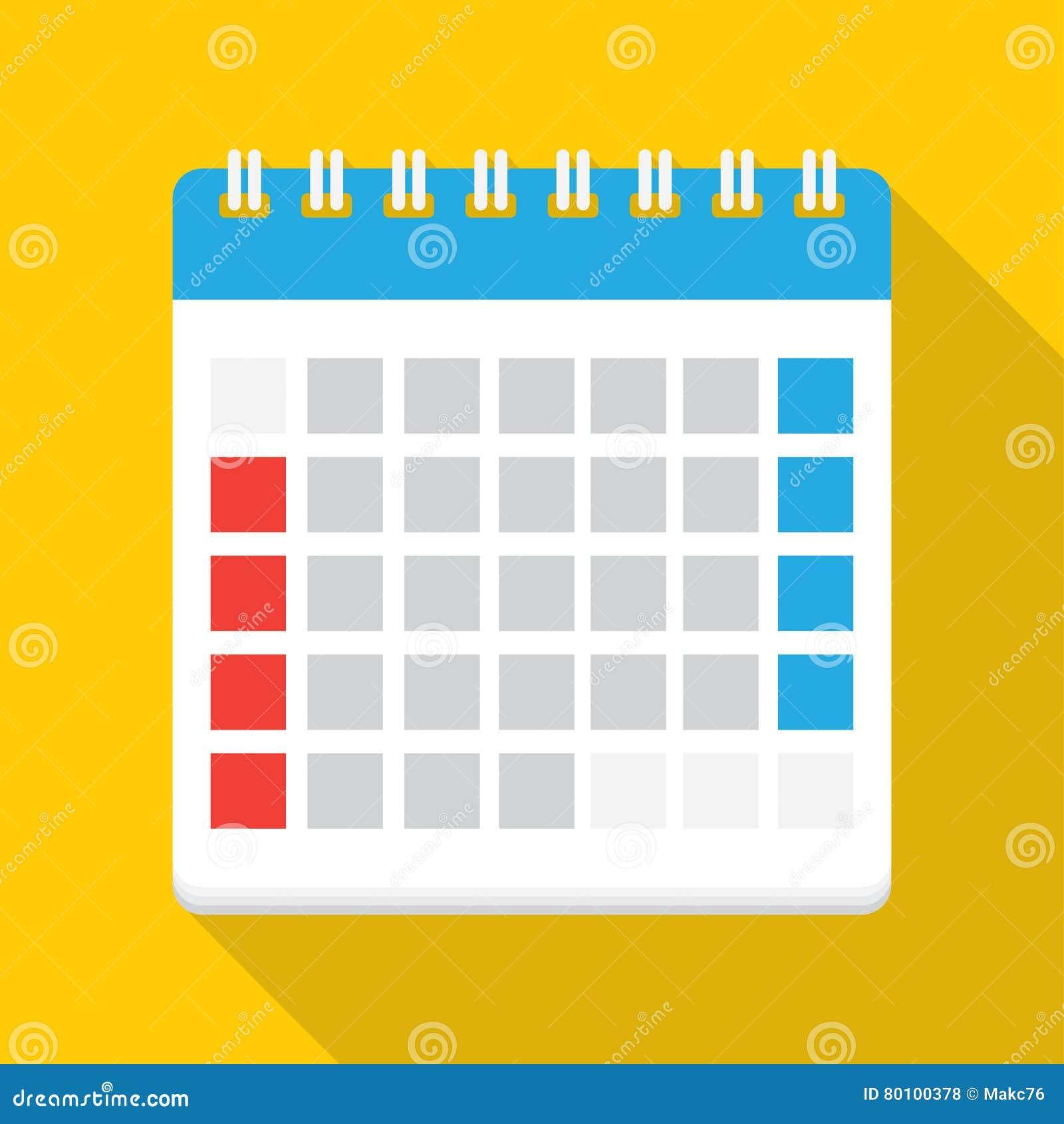 Ilustração lisa do vetor do ícone do calendário