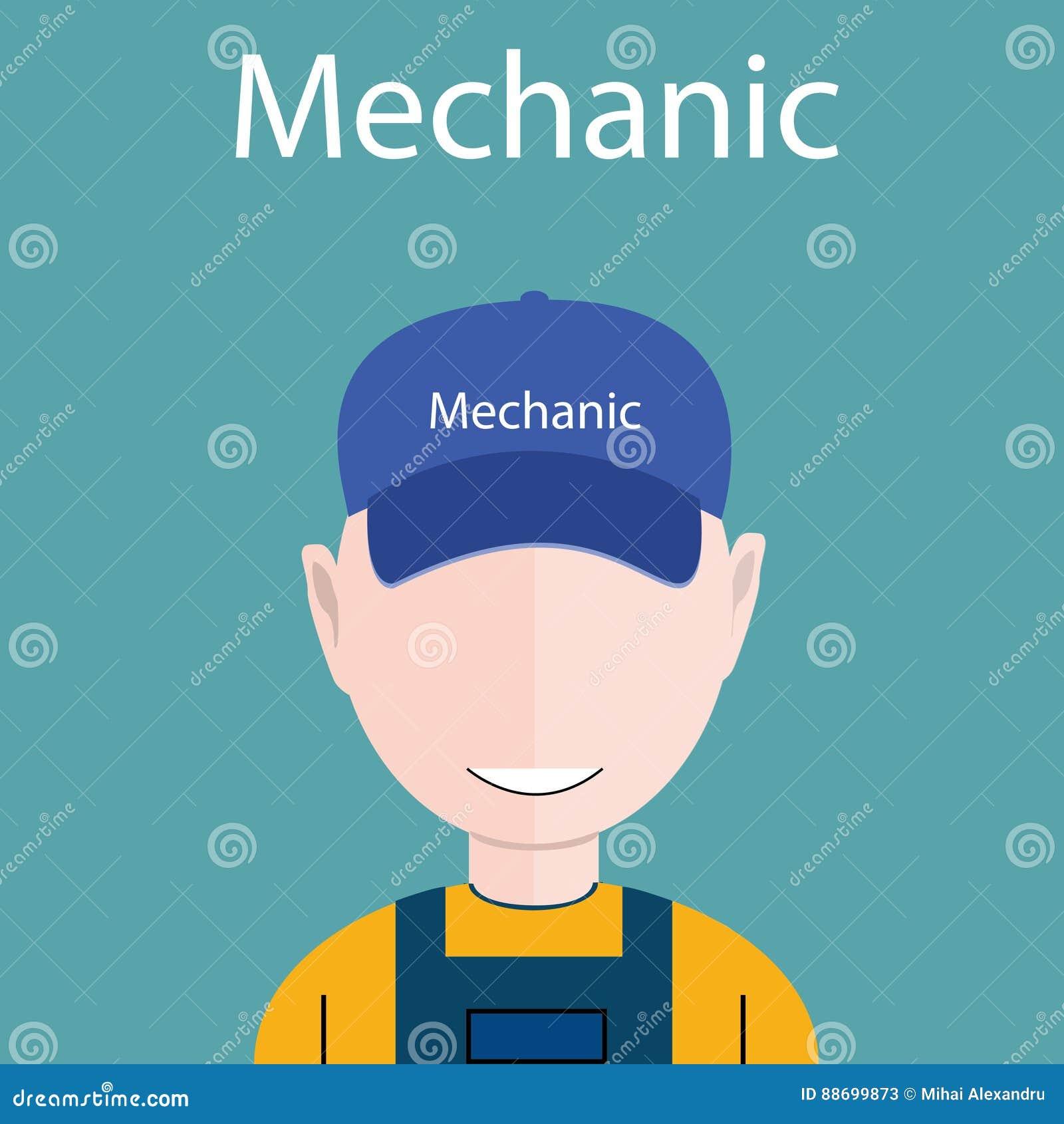 Ilustração lisa do vetor do avatar - ícone do mecânico ou do coordenador com o chapéu em sua cabeça, eps 10