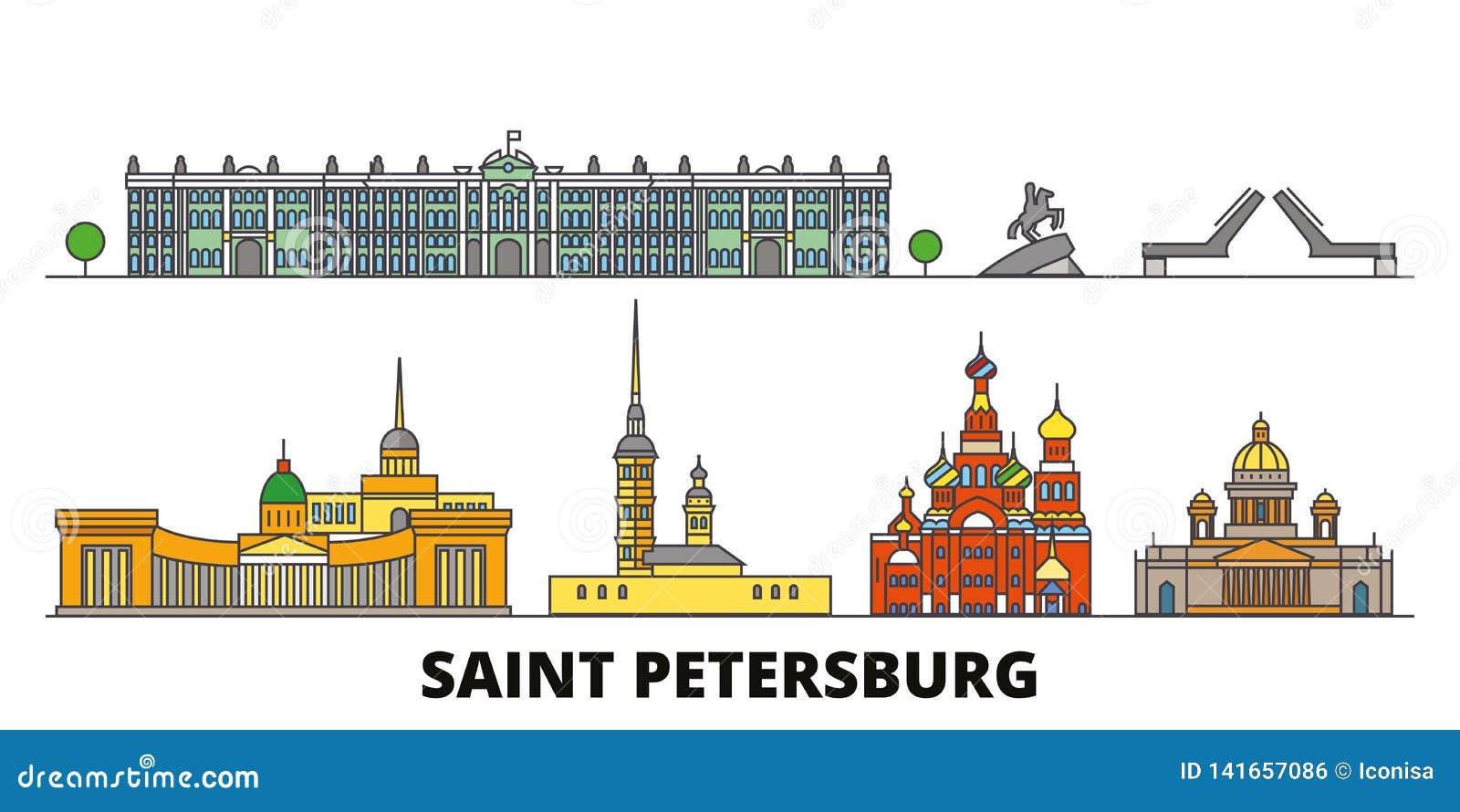 Ilustração lisa do vetor dos marcos de Rússia, St Petersburg Linha cidade de Rússia, St Petersburg com curso famoso