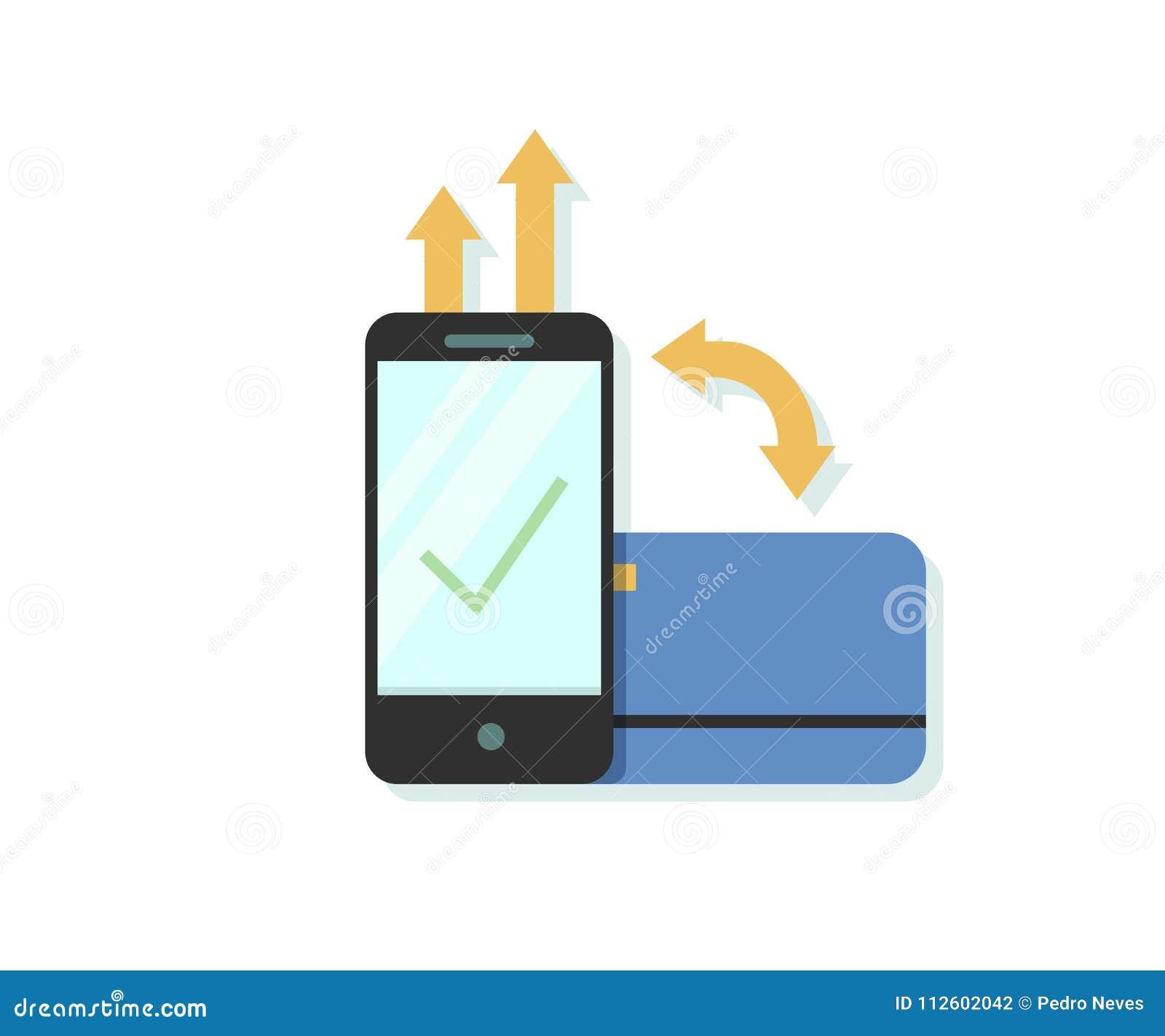 Ilustração lisa do vetor do projeto do pagamento em linha através do smartphone app com crédito ou cartão de crédito