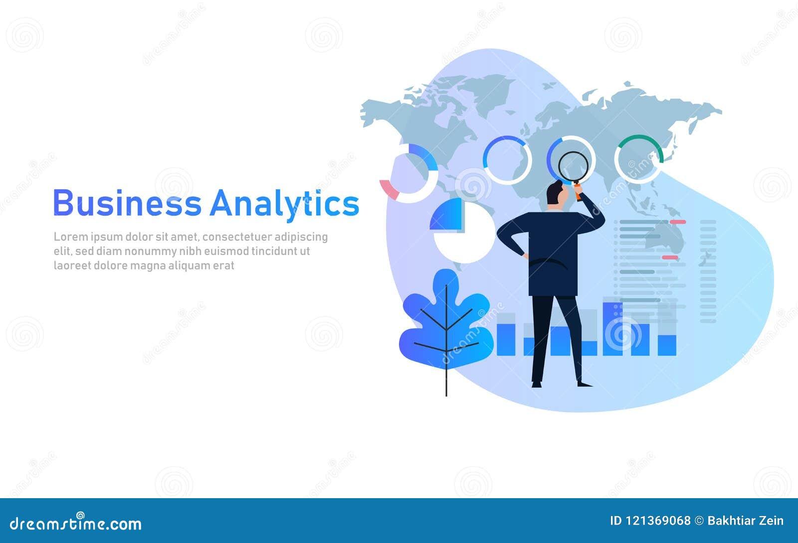 Ilustração lisa financeira do vetor da carta de negócio do gráfico da análise da analítica do negócio Dados de mapa do mundo glob