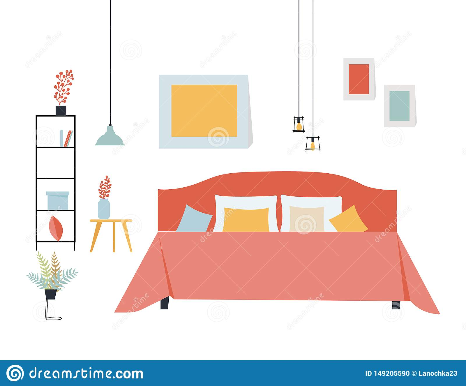 Ilustração lisa simples do vetor de um quarto com uma cama de casal, uma prateleira com coisas, uma tabela e umas plantas em past