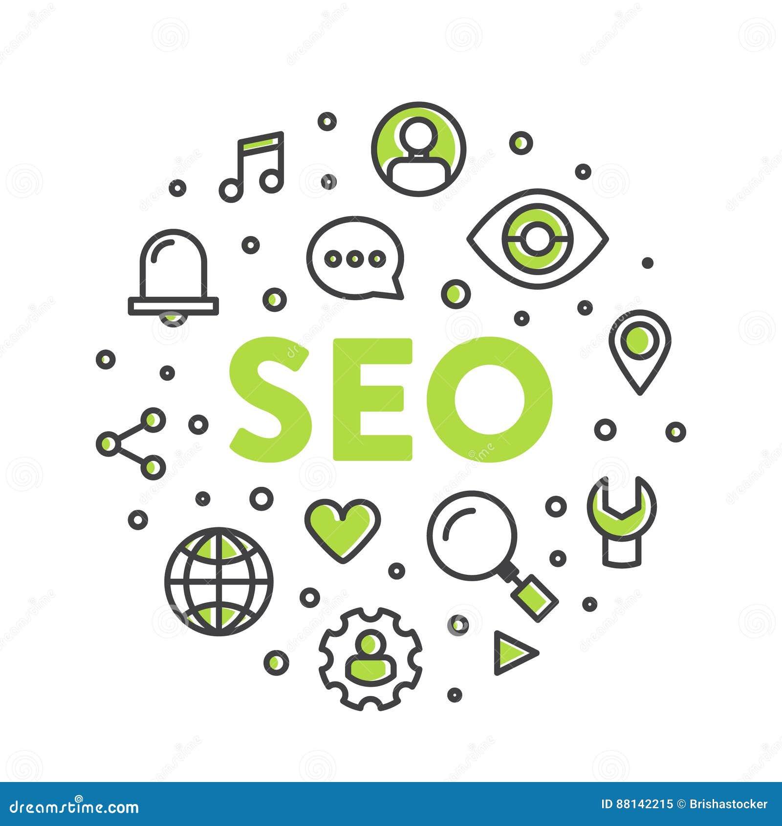 Ilustração Logo Concept de SEO Search Engine Optimization Process