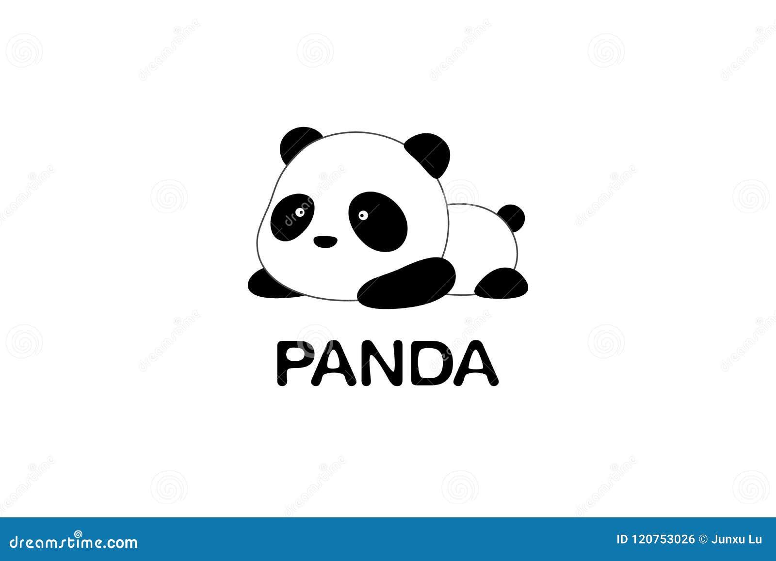 Ilustração/Logo Design do vetor - o urso de panda gigante engraçado bonito dos desenhos animados encontra-se na terra
