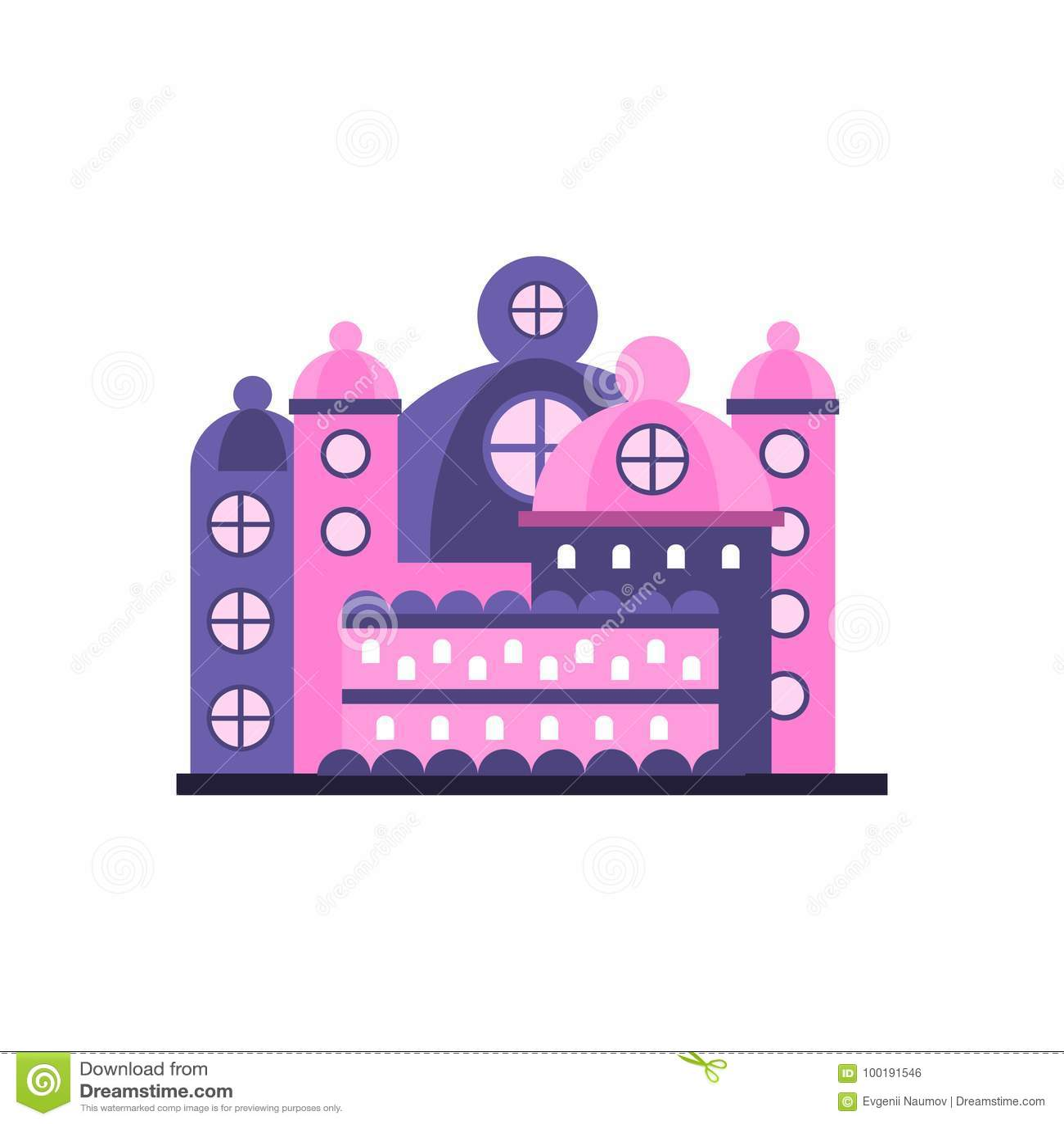Ilustração majestosa colorida do vetor da construção do palácio