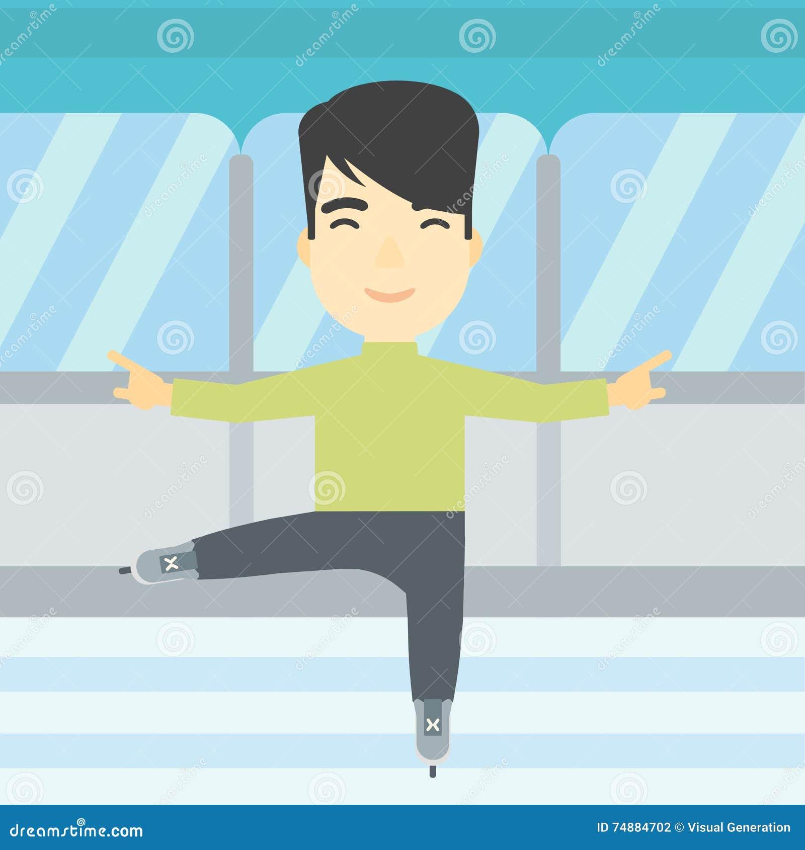 Ilustração masculina do vetor do patinador artística