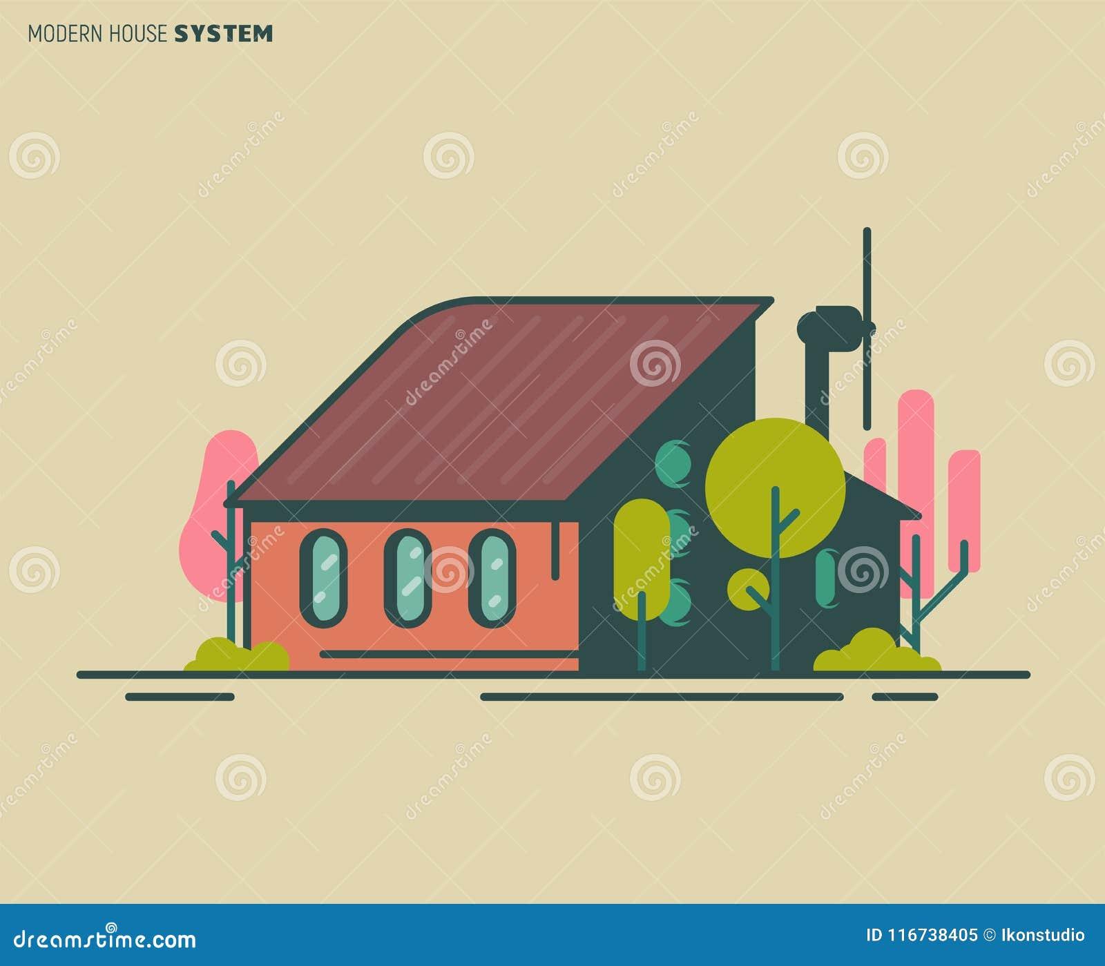 Ilustração moderna da casa
