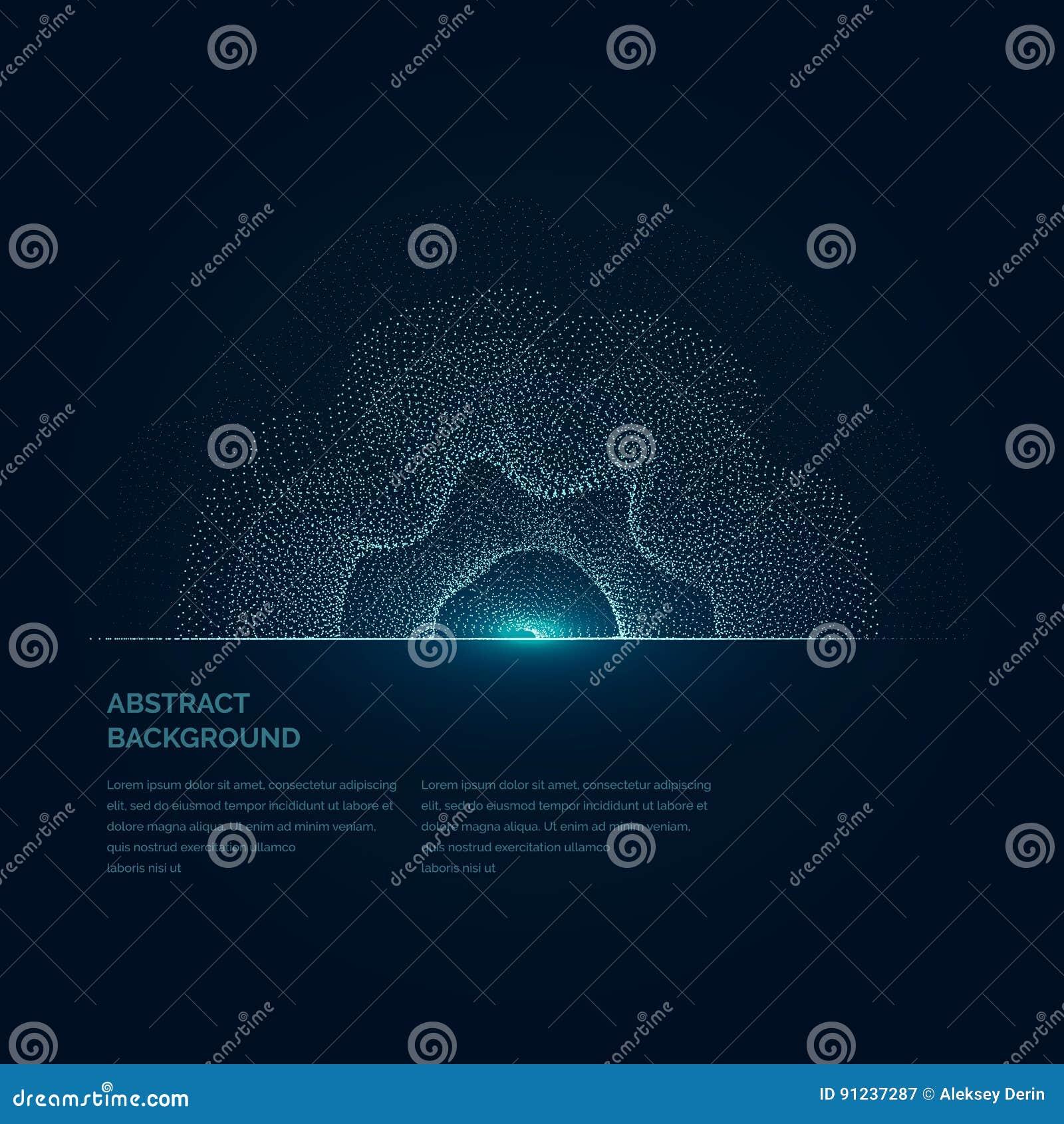 Ilustração moderna do vetor com uma forma deformada do círculo das partículas