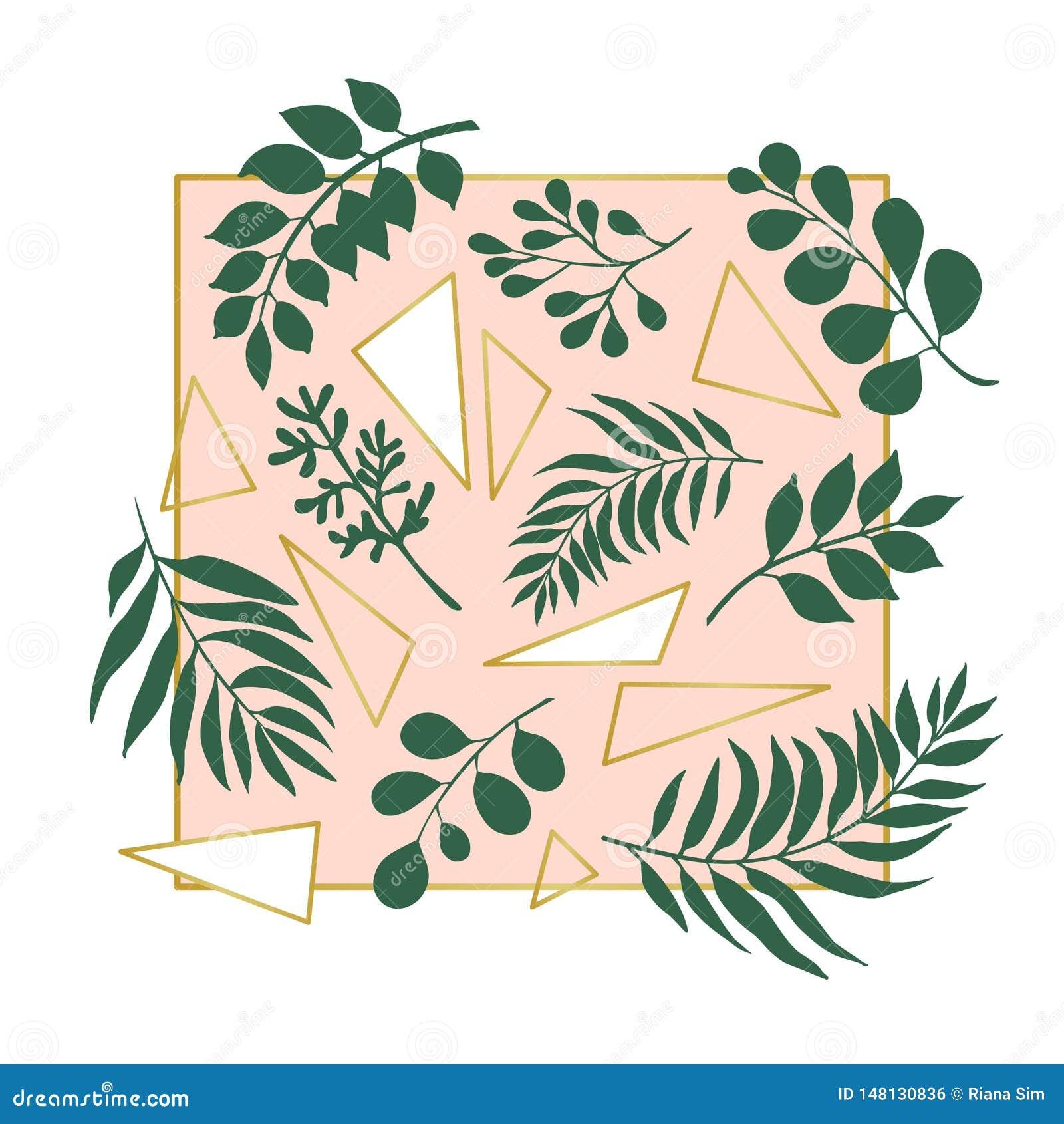 Ilustração na moda das folhas exóticas e de triângulos dourados no fundo cor-de-rosa