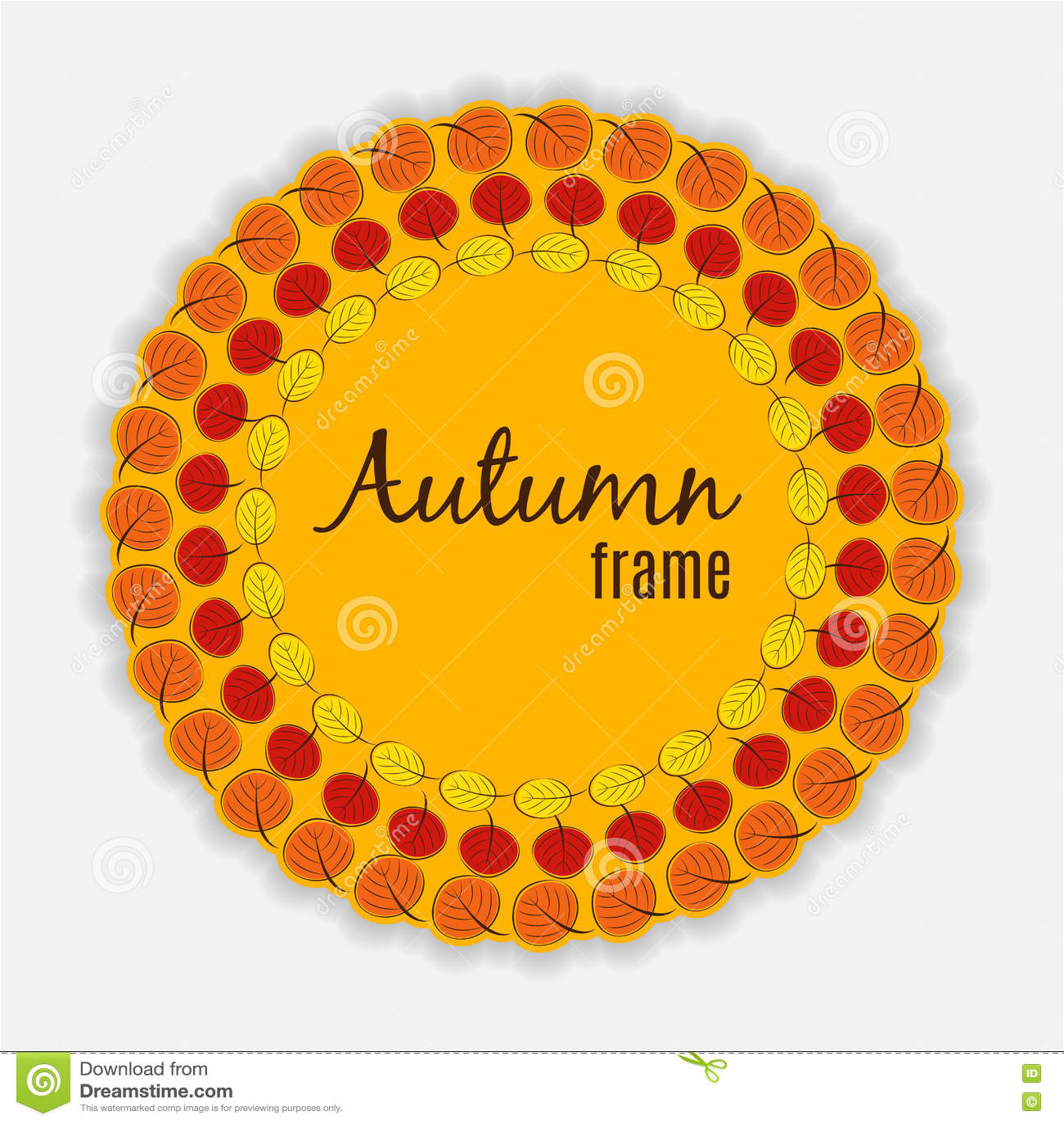 Ilustração natural de Sunny Autumn Leaves Frame Background Vetora