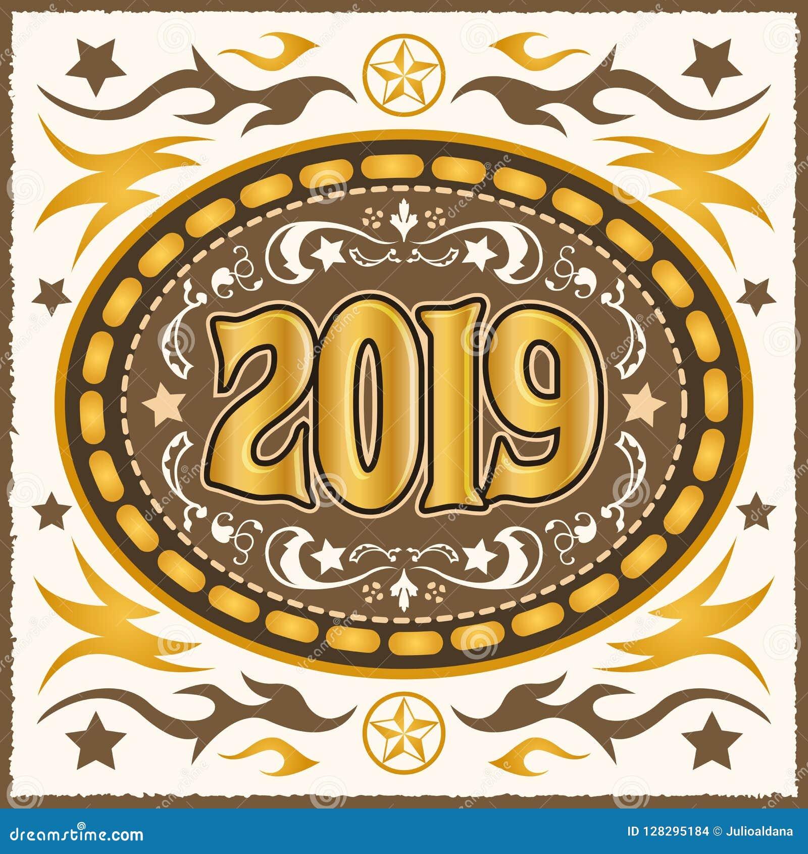 Ilustração ocidental do vetor da fivela de cinto do vaqueiro 2019
